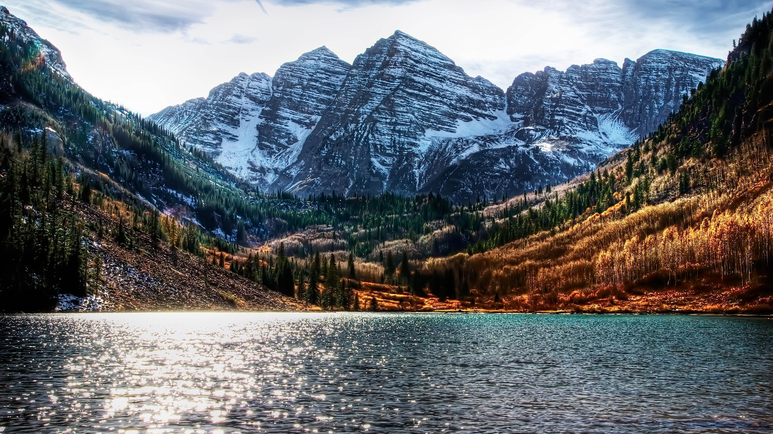 General 2560x1440 landscape lake fall mountains pine trees snowy mountain