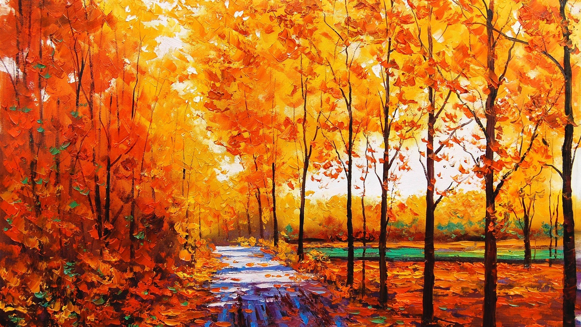 General 1920x1080 painting fall trees stream oil painting forest