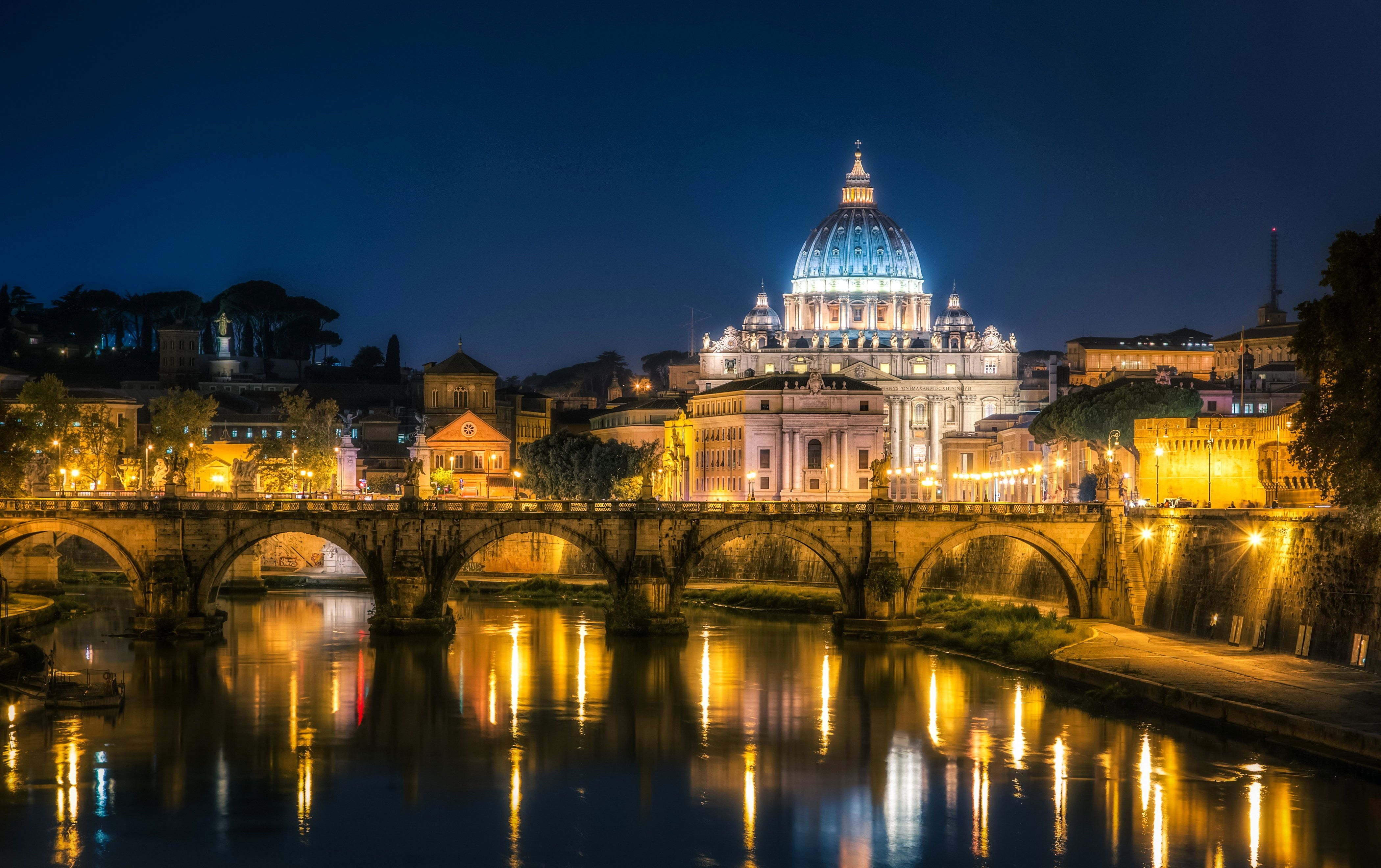 General 4200x2640 cityscape night lights architecture old building sky water reflection long exposure Rome Vatican City bridge trees Italy cathedral