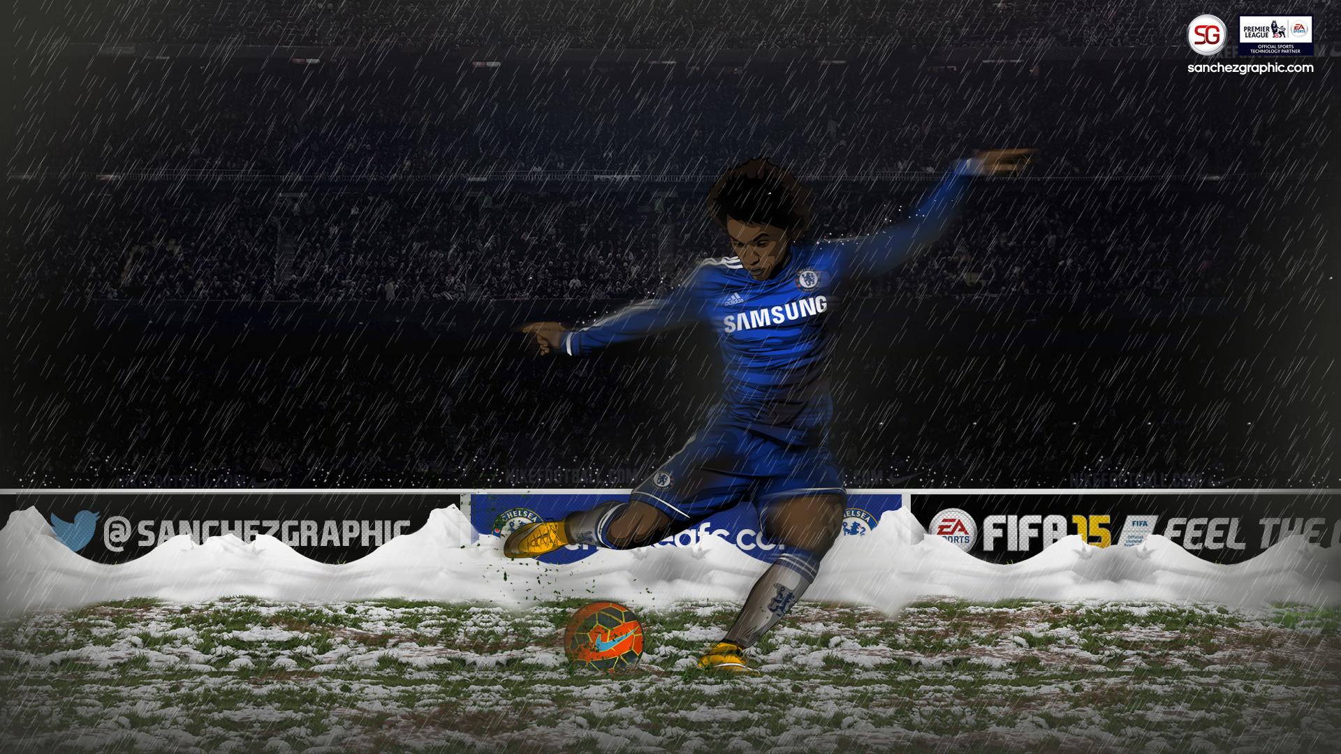 General 1920x1080 Sanchez Graphics  Chelsea FC men rain artwork soccer sport  sports soccer ball