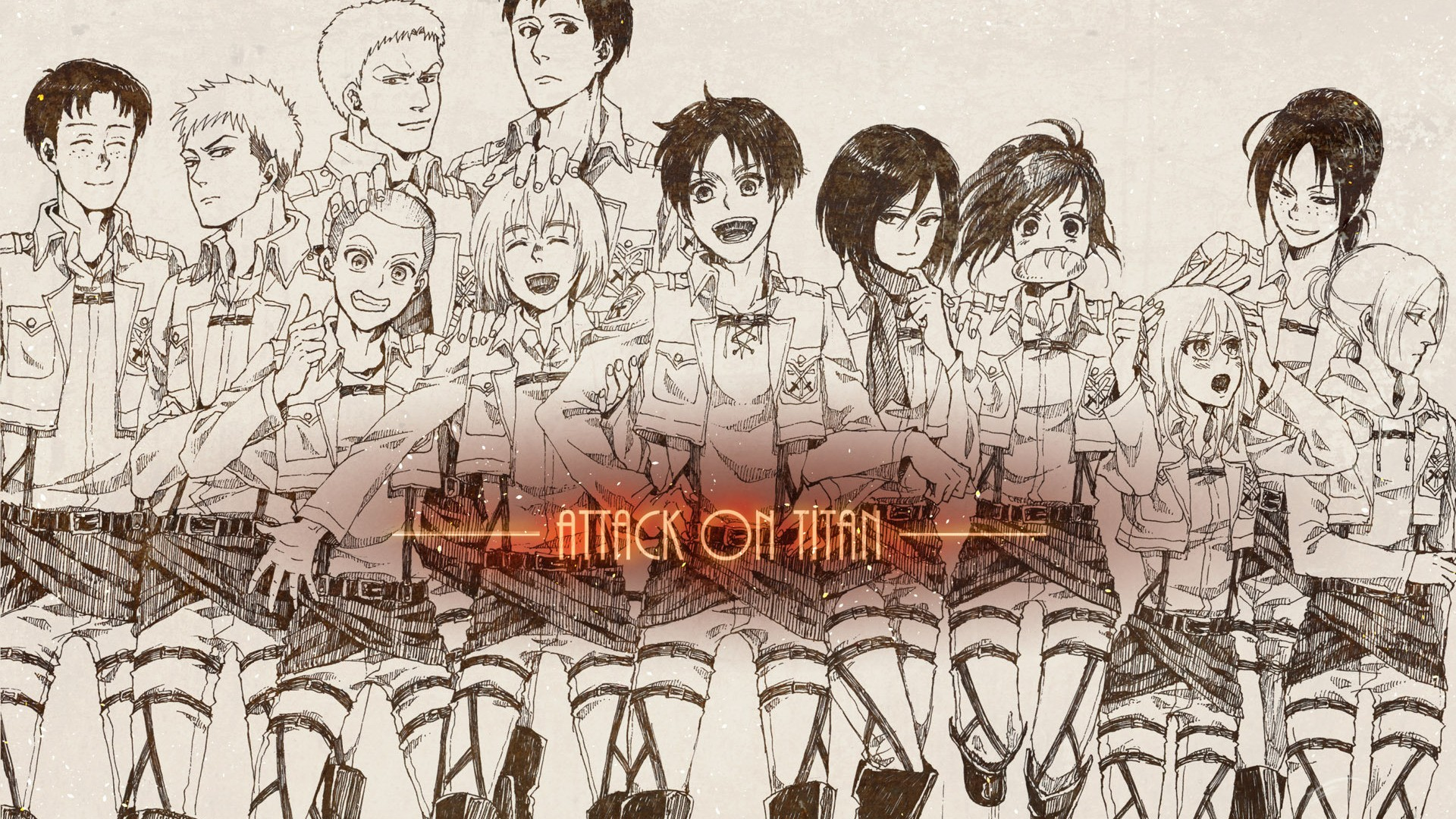 Anime 1920x1080 Shingeki no Kyojin Eren Jeager Mikasa Ackerman Armin Arlert Blouse Sasha anime