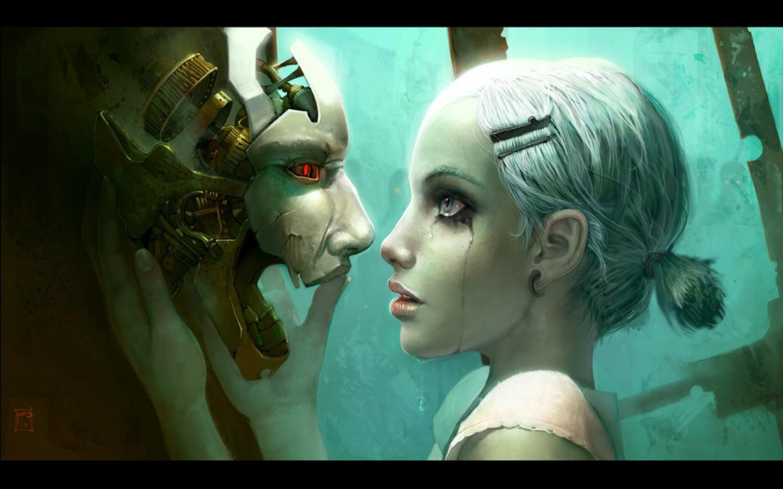 General 1440x900 cyberpunk robot tears love face women science fiction