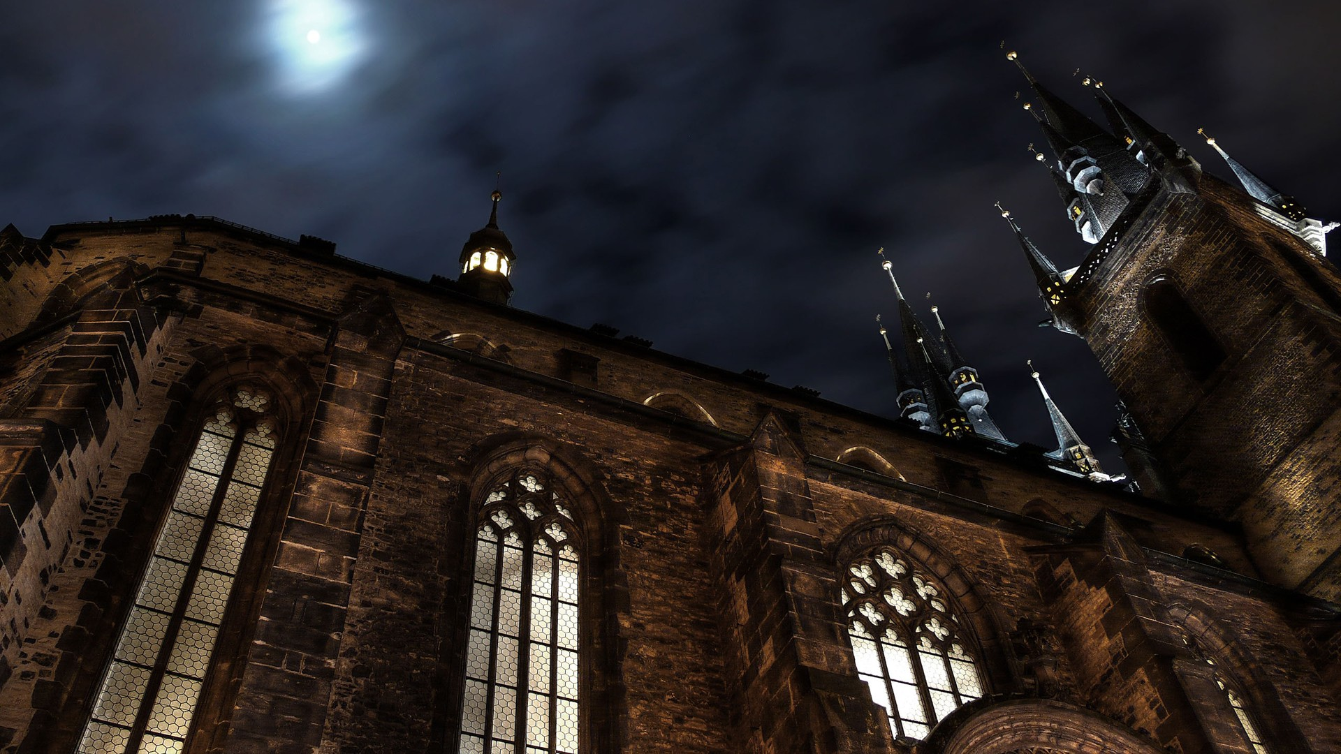 General 1920x1080 church night architecture Gothic Prague Church of Our Lady before Týn