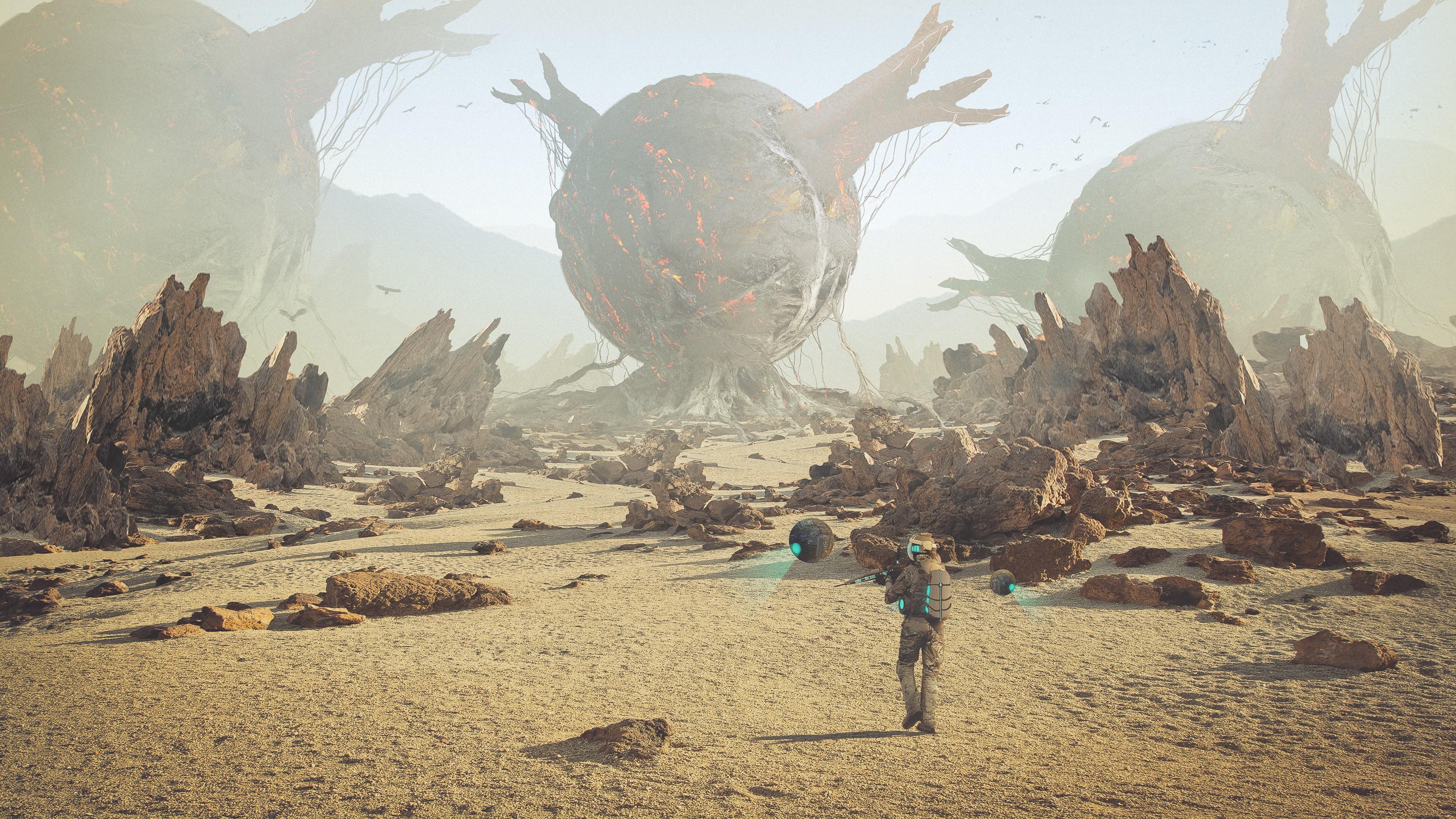 General 3840x2160 artwork spacesuit digital art robot futuristic desert rock looking into the distance