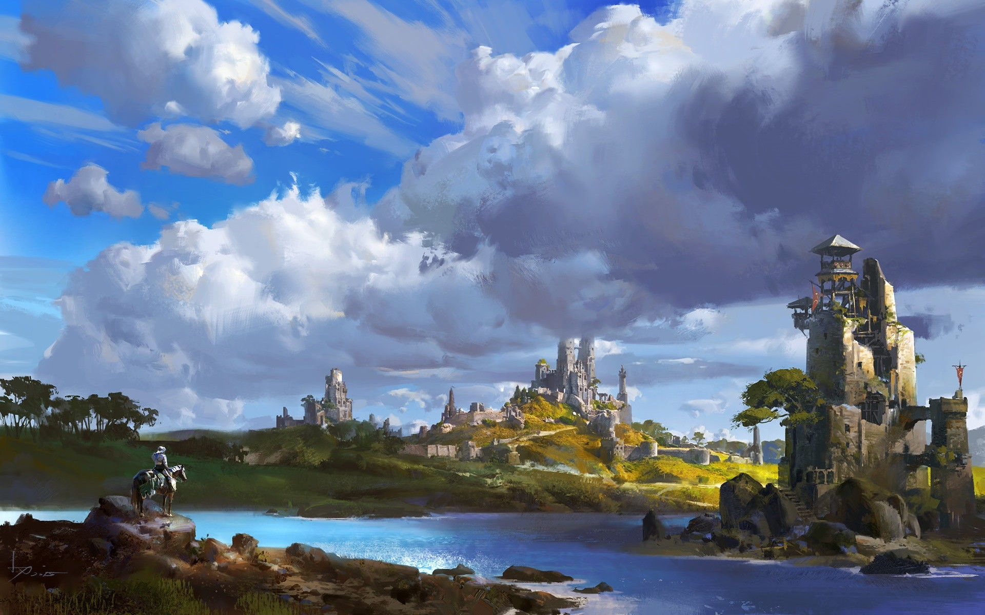 General 1920x1200 artwork concept art building castle river clouds landscape knight water