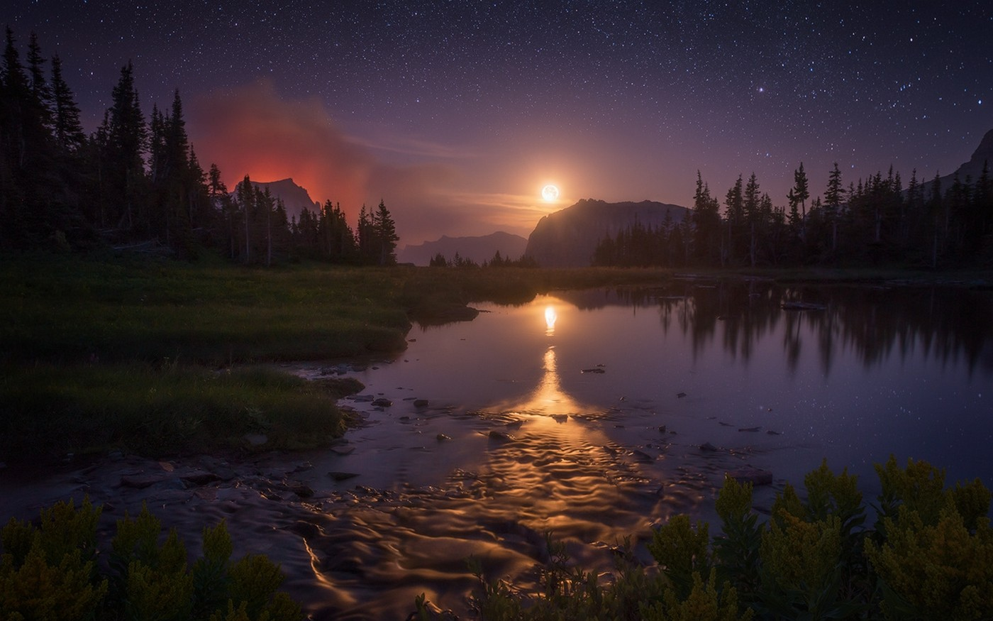General 1400x875 landscape nature starry night Moon lake reflection Glacier National Park Montana trees shrubs moonlight mountains sky