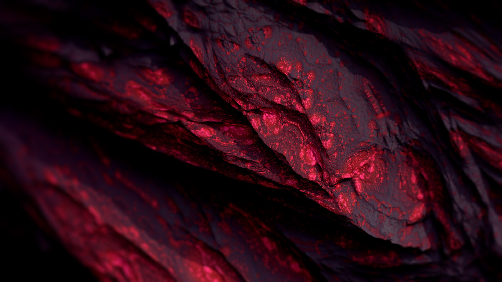 General 1920x1080 Procedural Minerals mineral red dark abstract CGI render digital art artwork