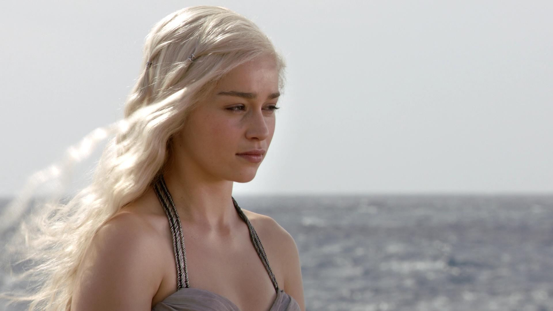 People 1920x1080 Daenerys Targaryen Game of Thrones Emilia Clarke women blonde sea sky women outdoors outdoors long hair celebrity actress TV Series fantasy girl