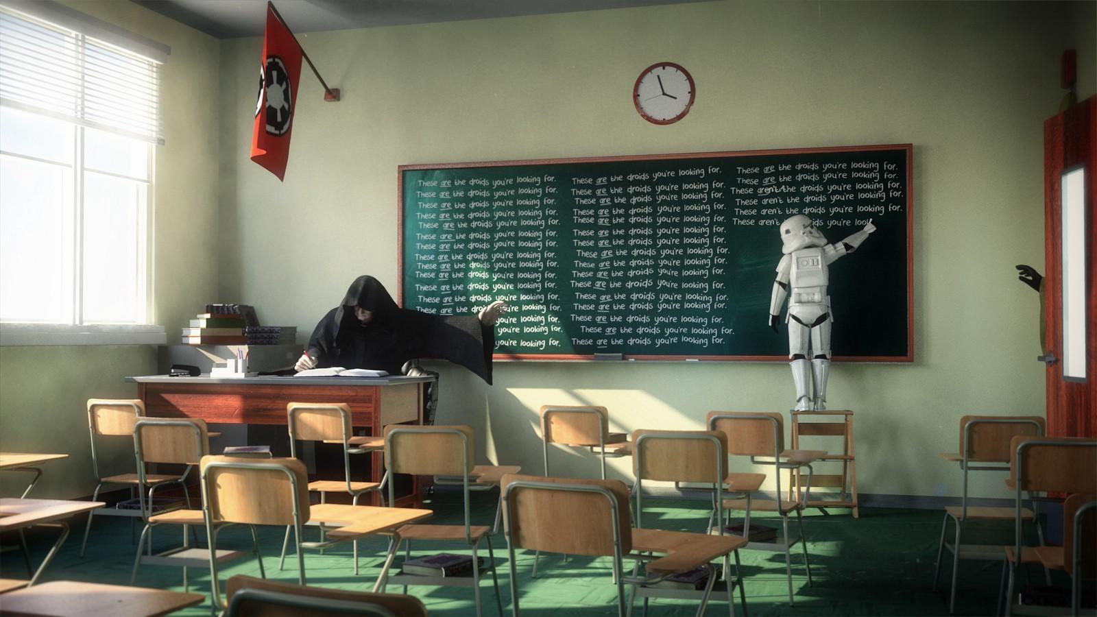 General 1600x900 Star Wars Emperor Palpatine stormtrooper school classroom cosplay Star Wars Humor chalkboard Star Wars Villains clocks chair indoors Sith