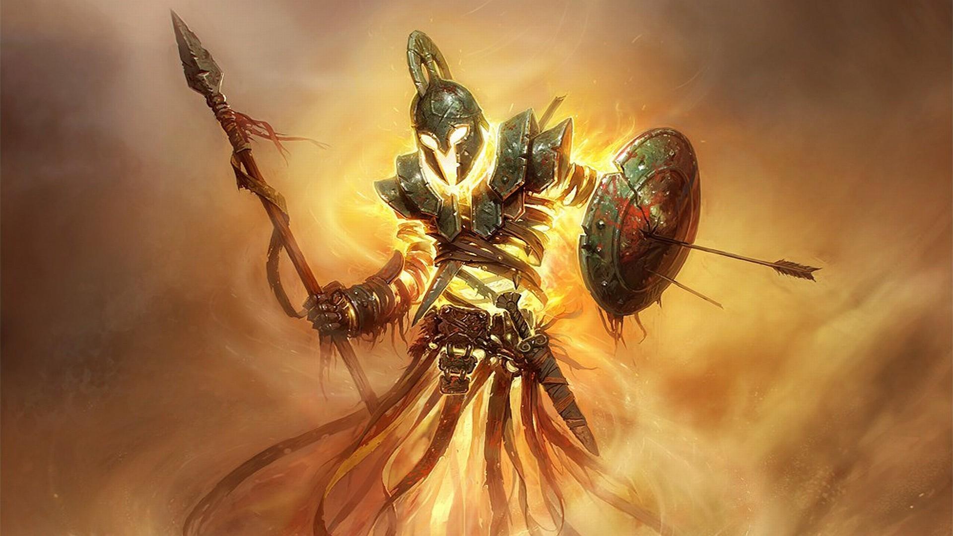 General 1920x1080 warrior fantasy art Armored spear shield