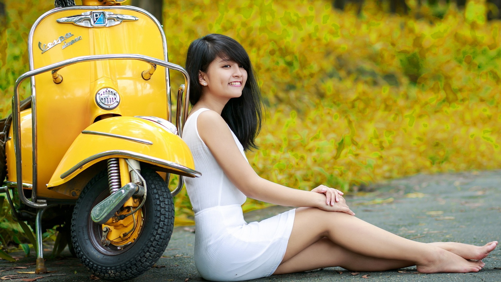 People 1920x1080 Asian Vespa yellow white dress scooters women with scooters women model barefoot sitting legs women outdoors dark hair black hair smiling dress yellow dress