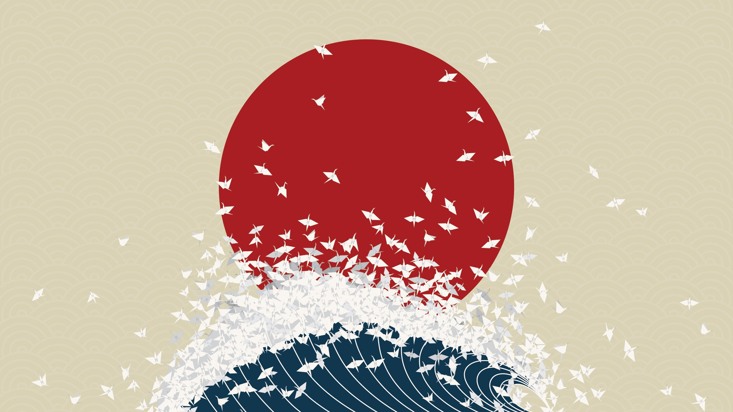 General 2560x1440 simple origami water Sun minimalism digital art waves Japan birds Nihon