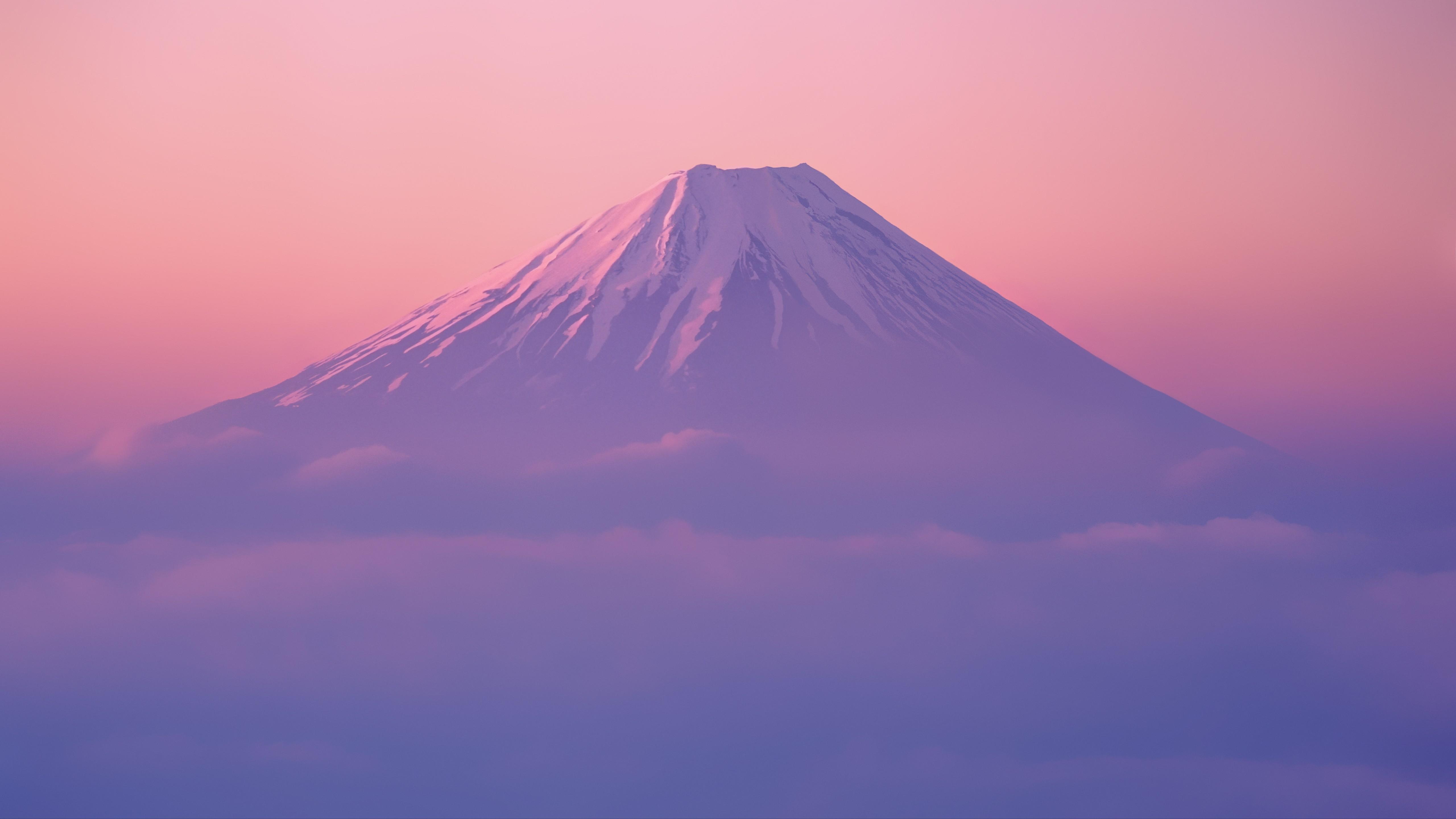 General 5120x2880 mountains landscape mist clouds Mount Fuji Japan Asia