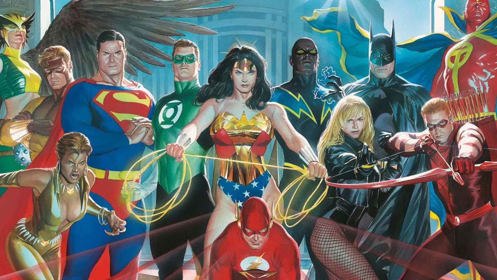 General 1594x900 DC Comics Alex Ross Superman Wonder Woman The Flash Batman Green Lantern Red Tornado Hawkgirl Black Canary Justice League
