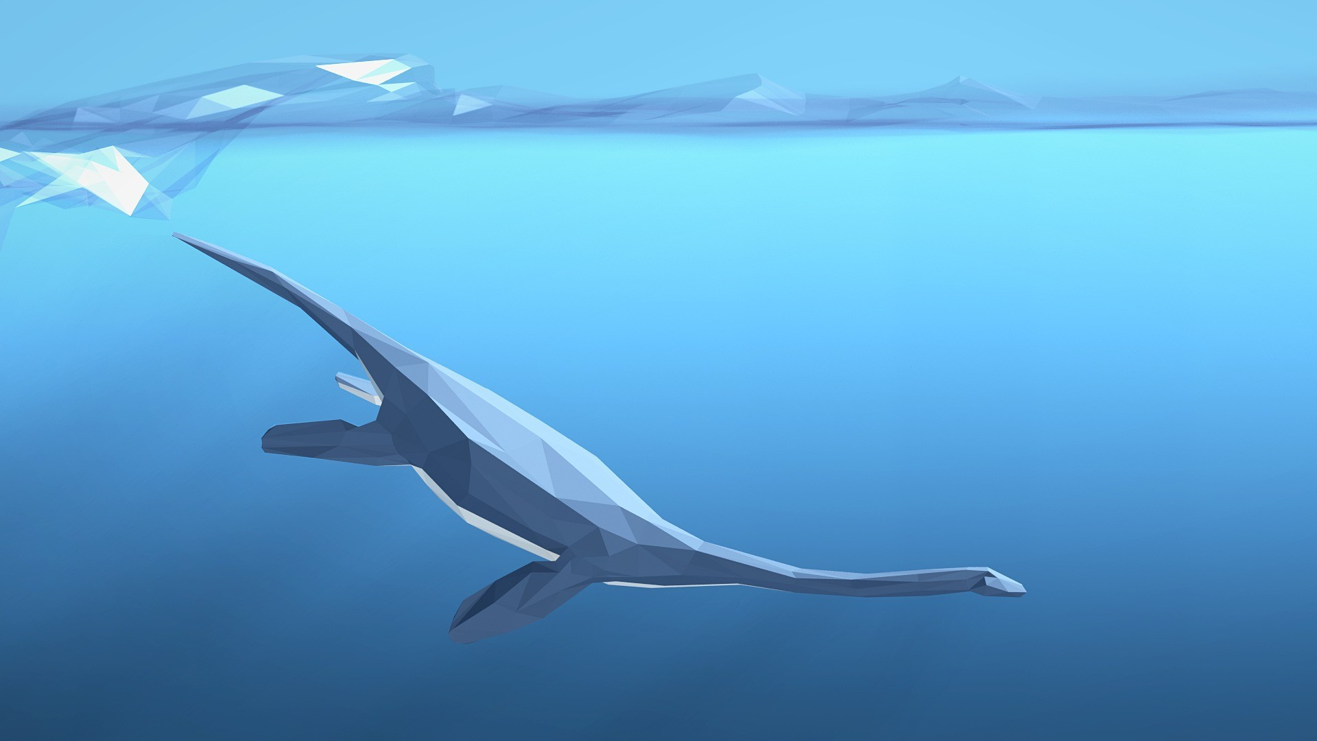 General 1920x1080 minimalism digital art low poly animals dinosaurs blue waves underwater swimming artwork
