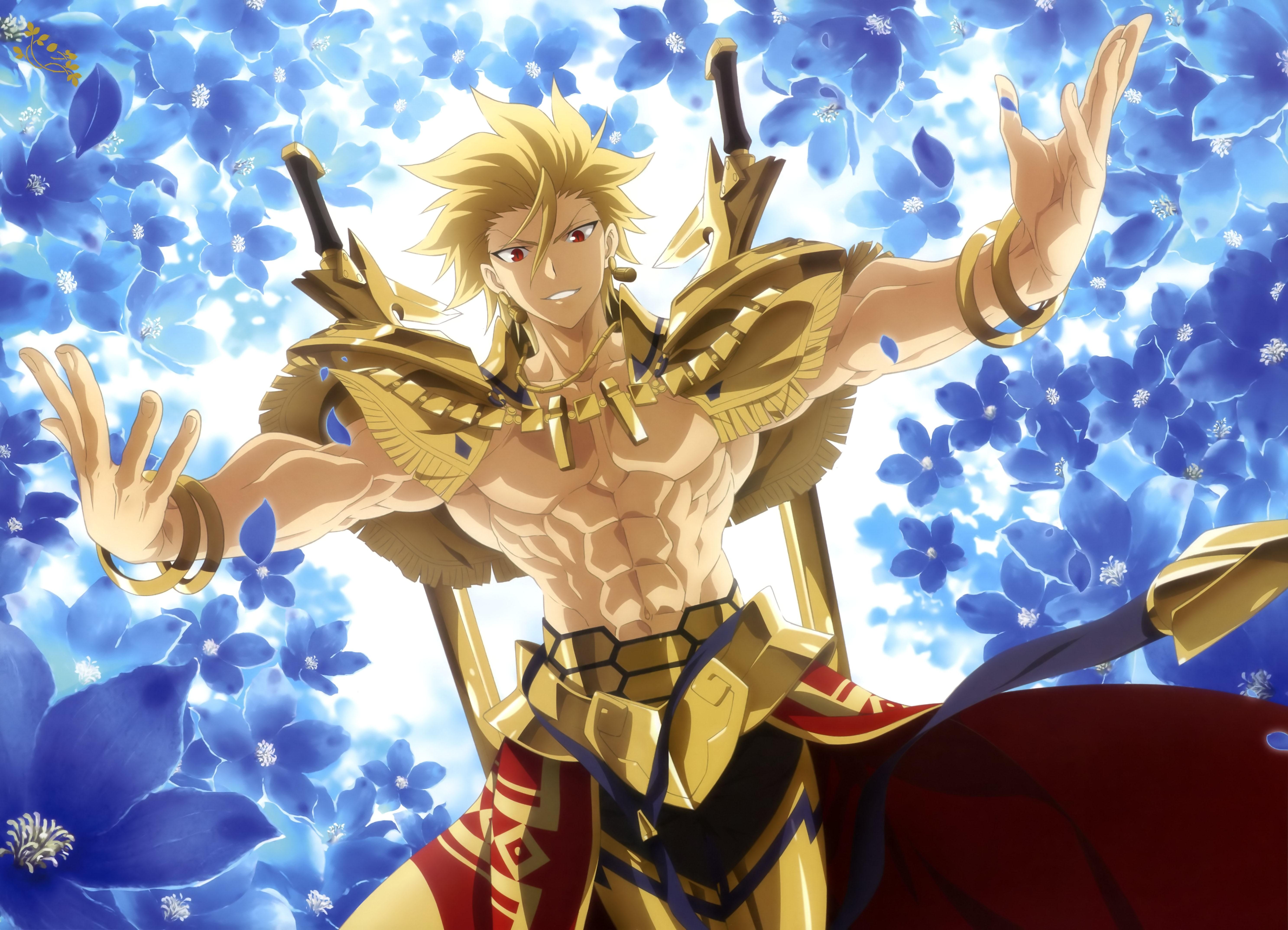 Anime 5946x4291 Fate/Prototype Gilgamesh red eyes anime short hair blonde anime boys