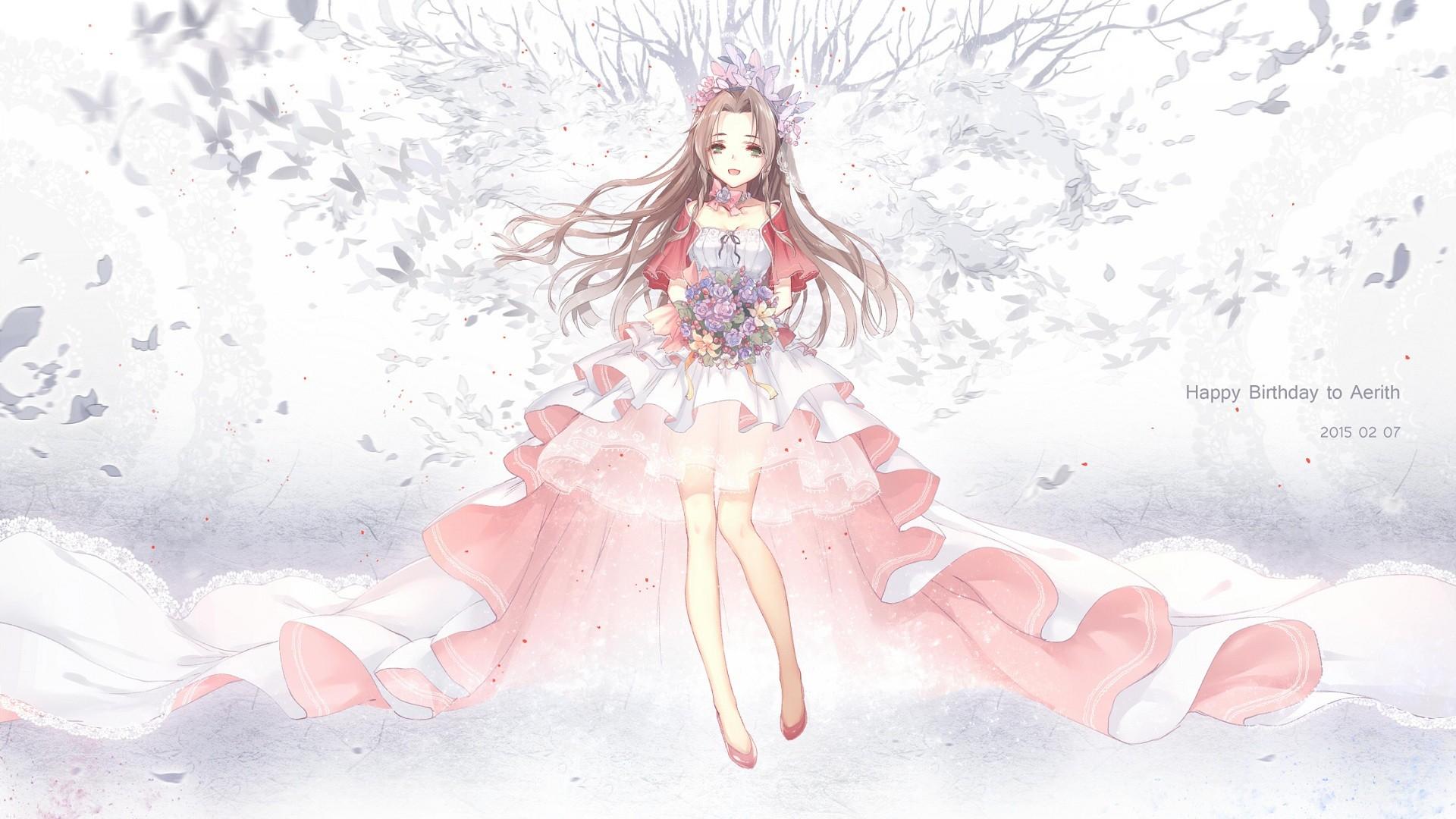 Anime 1920x1080 anime anime girls Final Fantasy VII Aerith Gainsborough