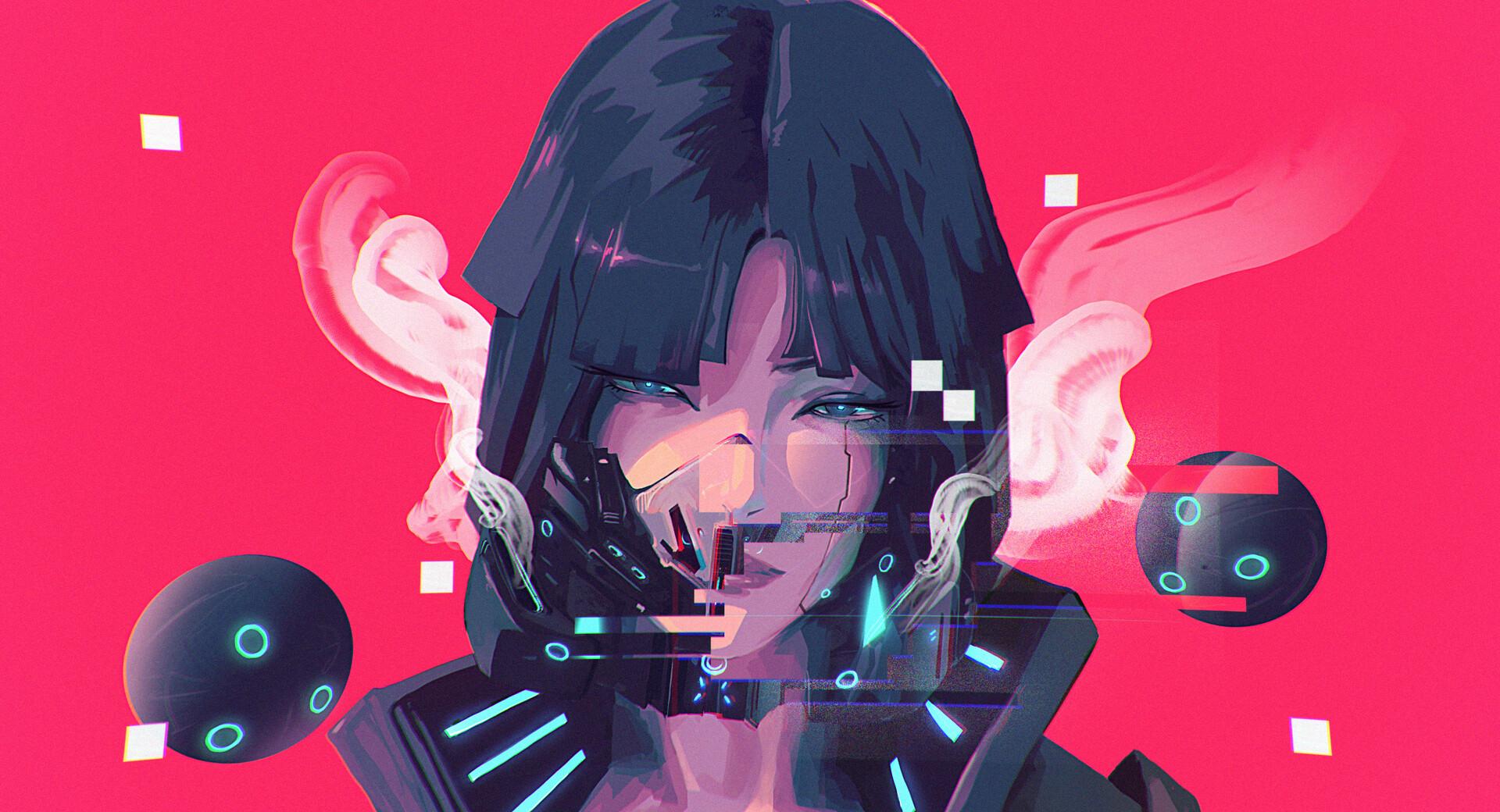 General 1920x1040 women glitch art science fiction character design  gas masks jacket leather cyberpunk Rashed AlAkroka