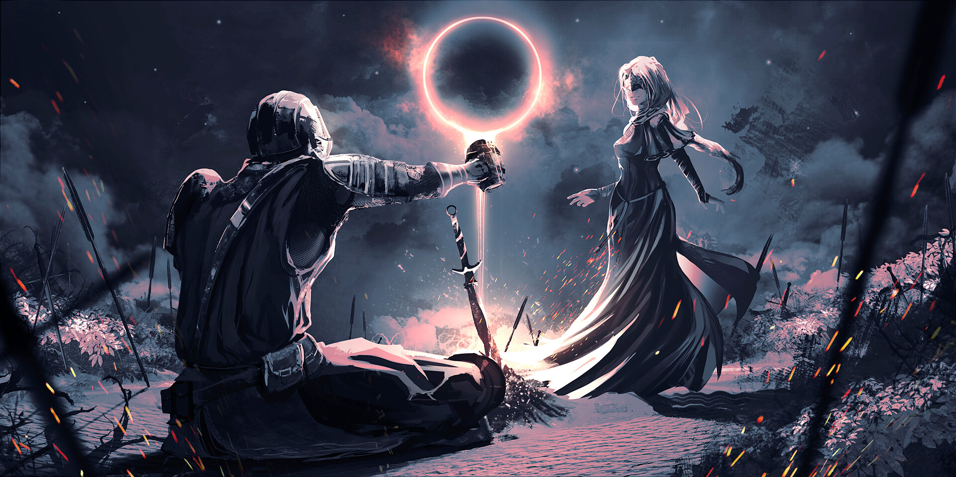 General 1920x959 Rashed AlAkroka dark souls 3 fantasy art sword knight eclipse  sparks women dress mug bonfire fire keeper