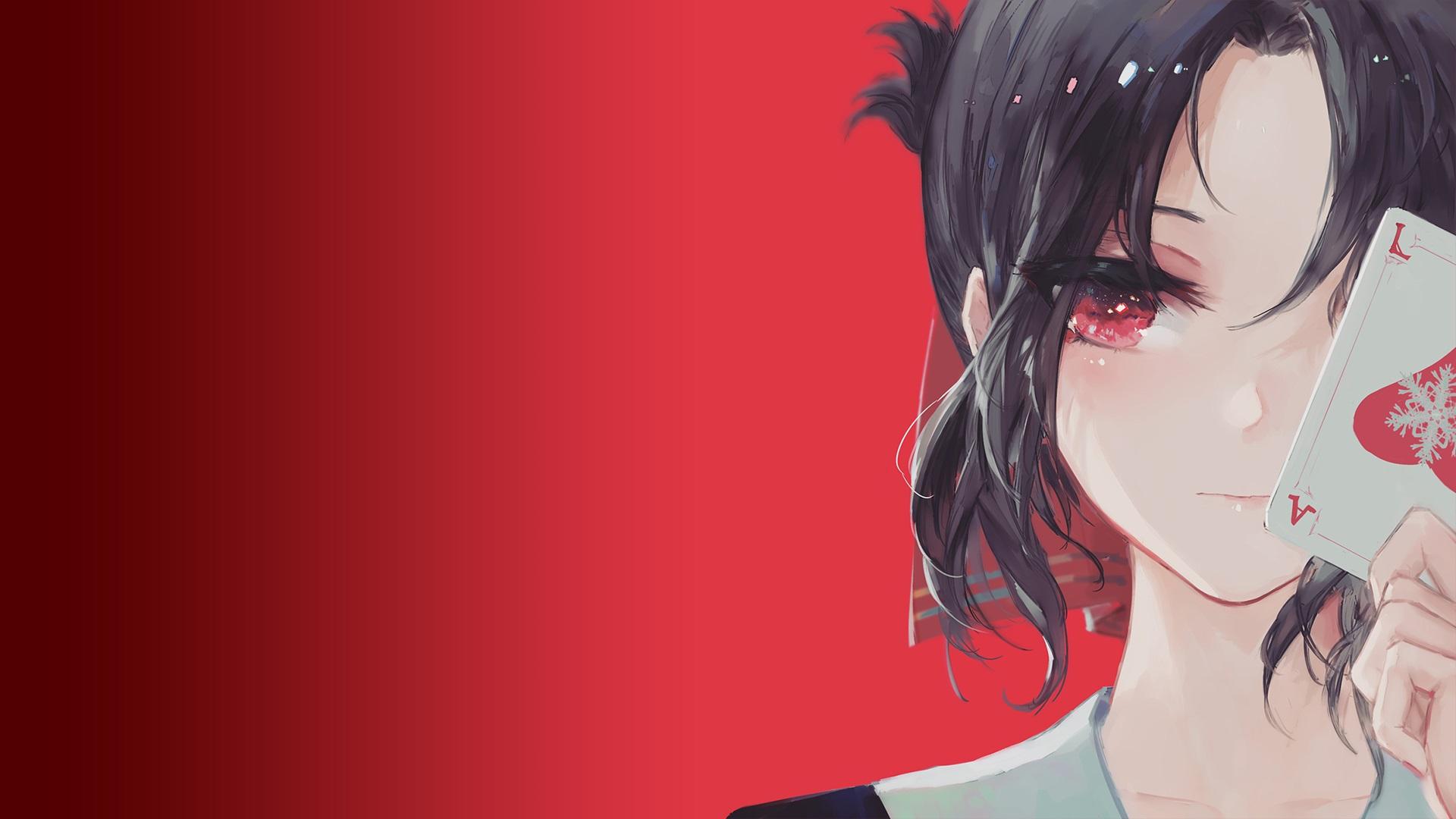 Anime 1920x1080 Kaguya-Sama: Love is War Kaguya Shinomiya anime anime girls red background card red eyes black hair KiSei2