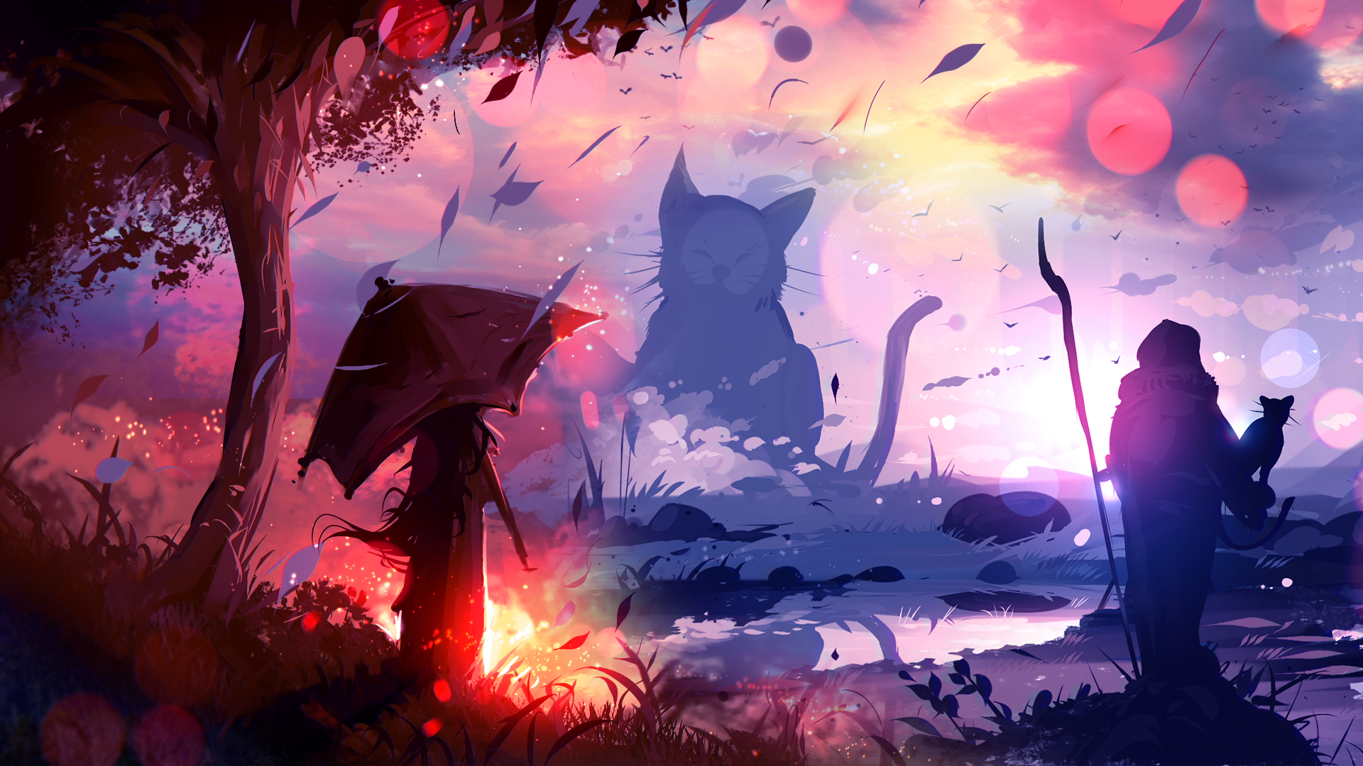 General 1920x1080 ryky painting digital art umbrella cats leaves bokeh