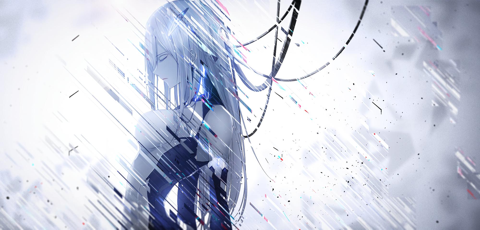 Anime 2000x958 original characters long hair silver hair braids mecha girls futuristic futuristic armor closed eyes glitch art bodysuit wires anime side view profile