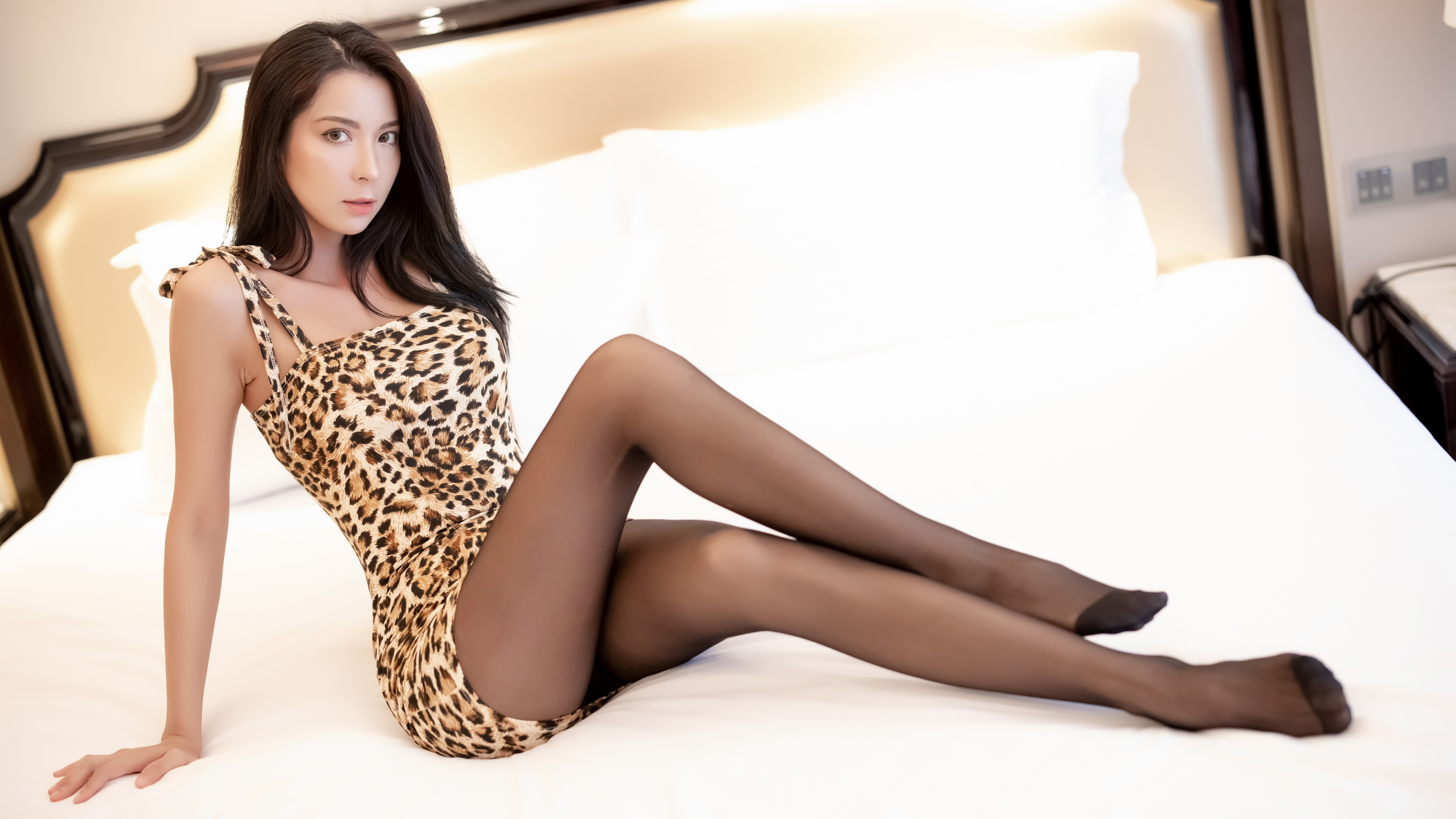 women, Asian, model, long hair, in bed, pantyhose