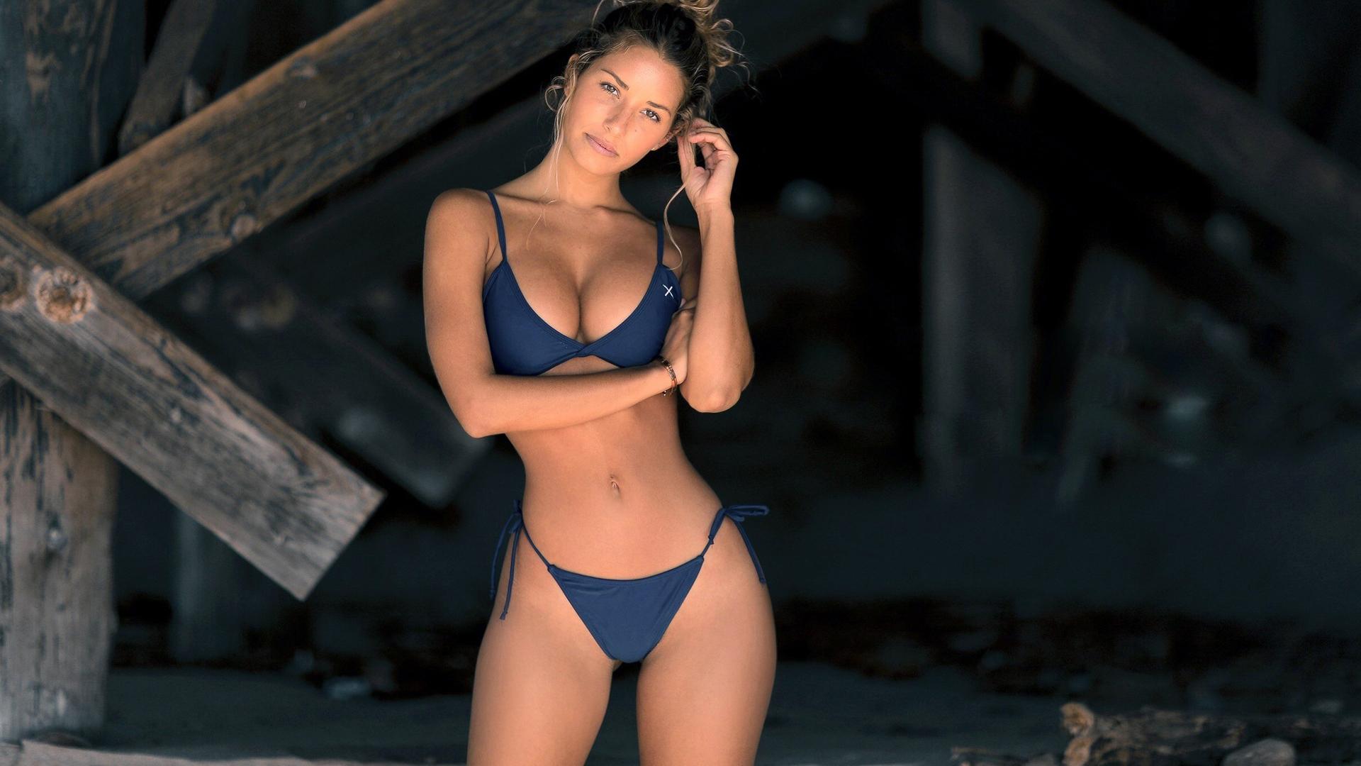 People 1920x1080 brunette blue bikinis model Sierra Skye women the gap BoutineLA bikini big boobs cleavage