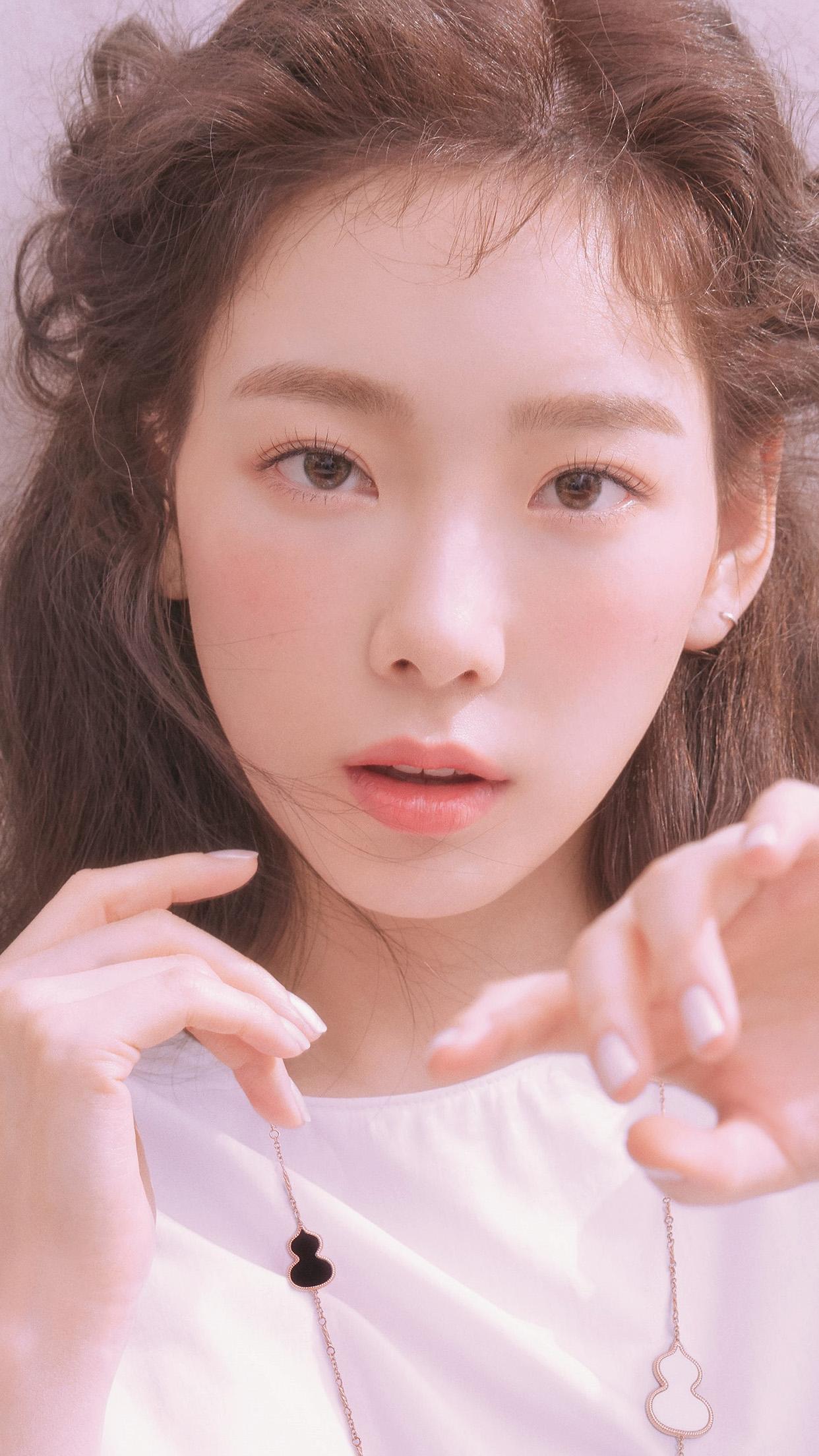 People 1242x2208 Korean K-pop women portrait photography red lipstick Kim Taeyeon SNSD SNSD Taeyeon looking at viewer necklace