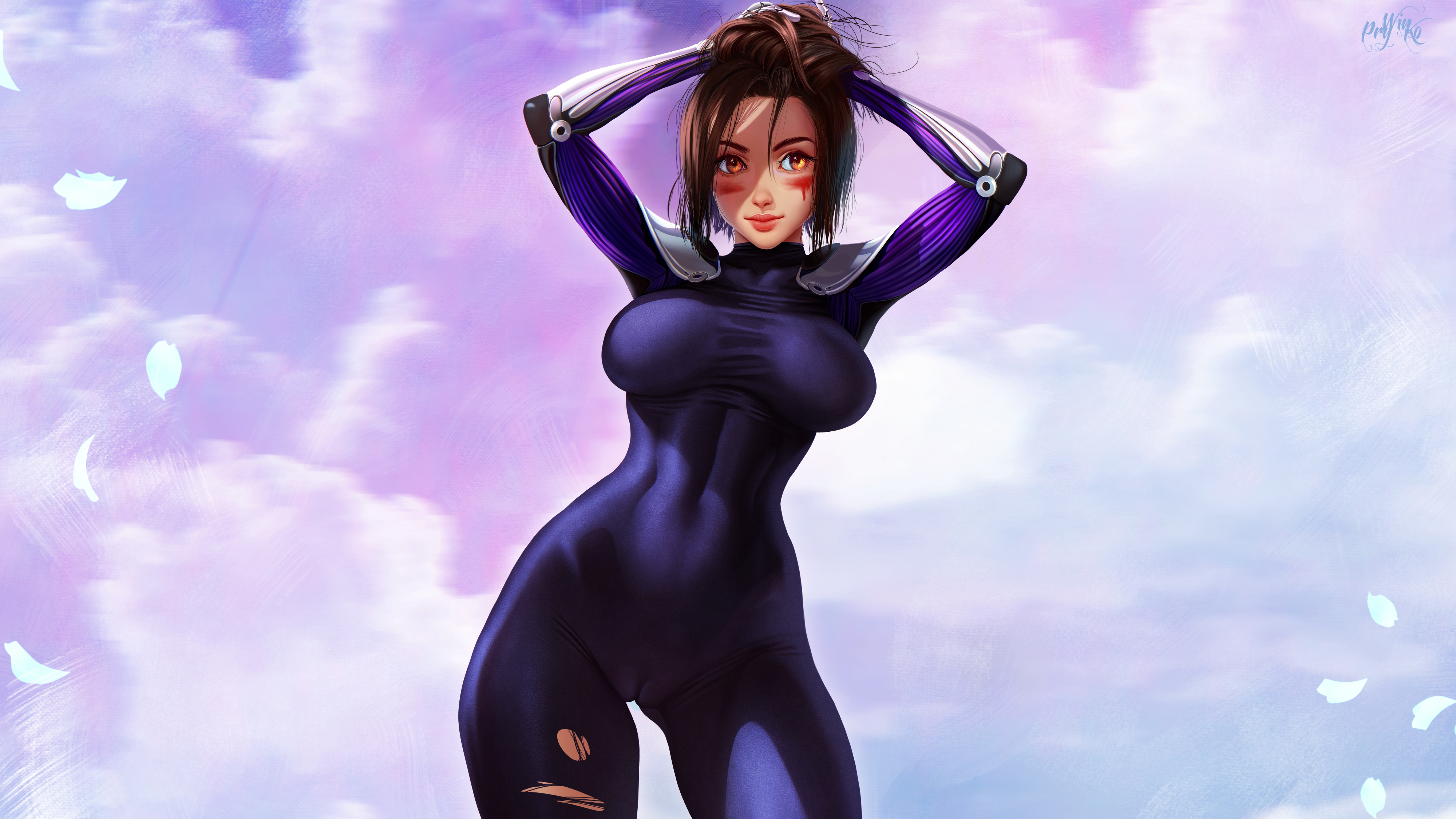Anime 4000x2250 Alita Alita: Battle Angel anime anime girls brunette hands on head cyborg science fiction fantasy girl looking at viewer blood tight clothing curvy cameltoe the gap clouds ripped clothes artwork digital art drawing fan art Prywinko GUNNM