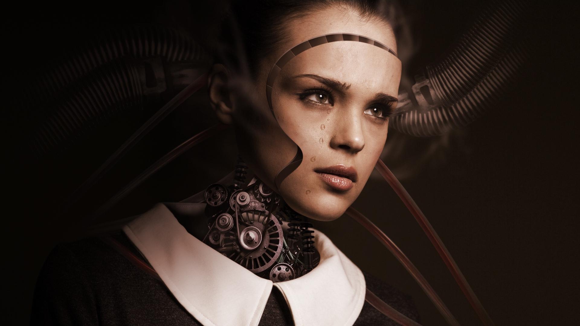 General 1920x1080 photo manipulation women cyborg tech face robot