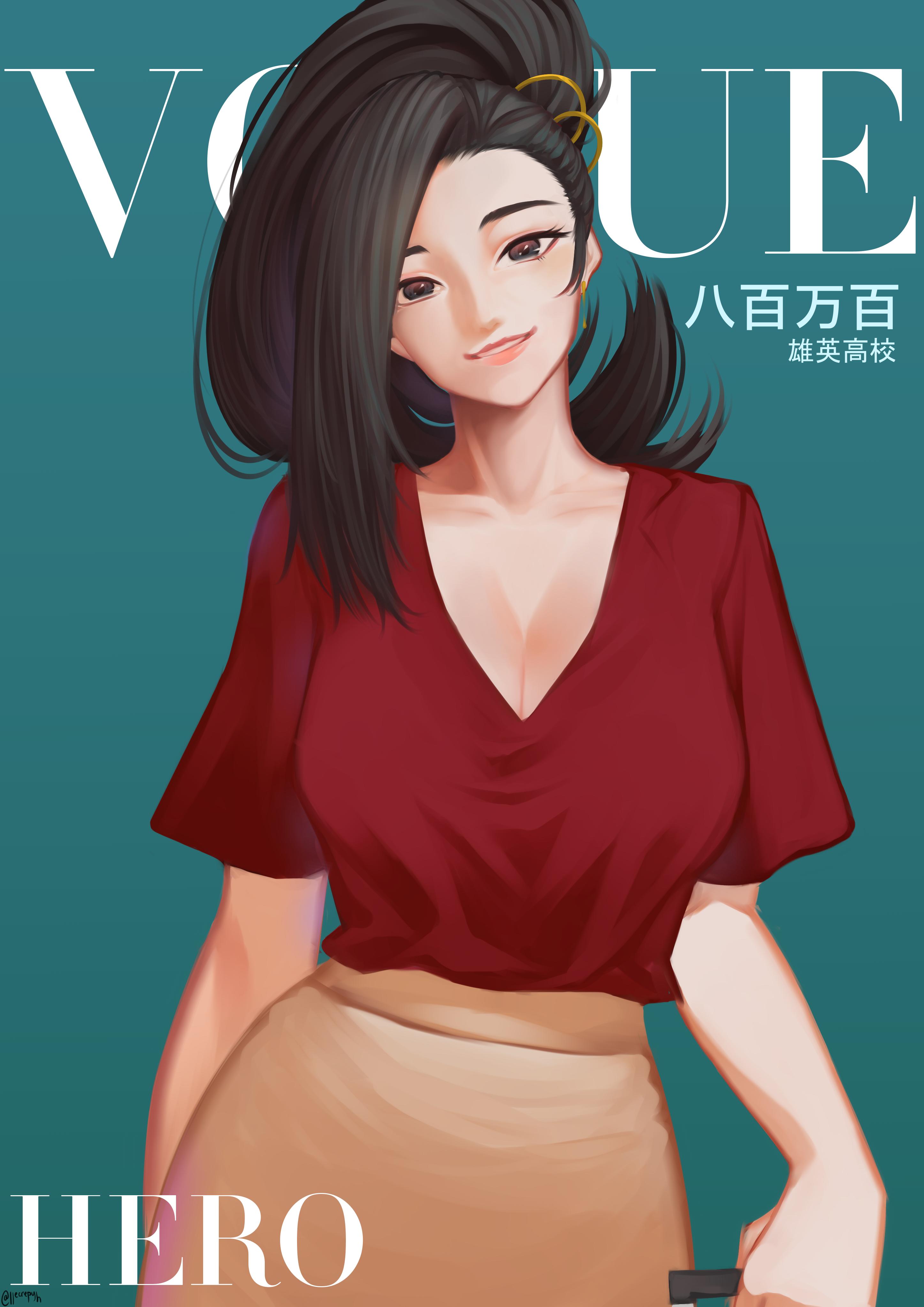 Anime 2893x4092 Boku no Hero Academia anime girls Yaoyorozu Momo portrait black hair red t-shirt smiling ponytail black eyes long hair big boobs magazine cover 2D fan art frontal view