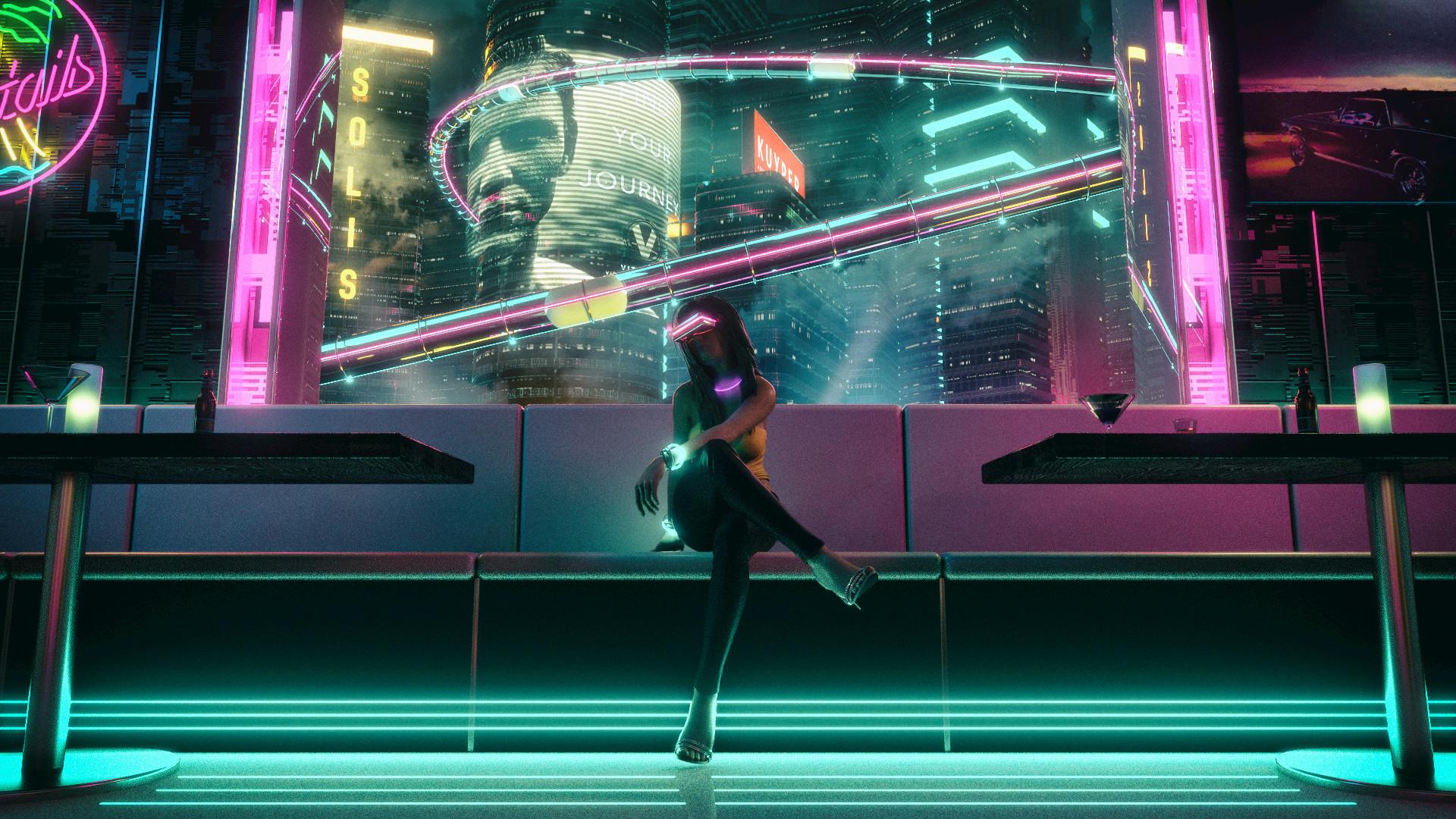 General 1920x1080 artwork digital digital art concept art synthwave Retrowave vaporwave night Nightclub OutRun Blade Runner skyscraper table couch neon neon glow neon lights lights poster cocktails VR Headset David Legnon