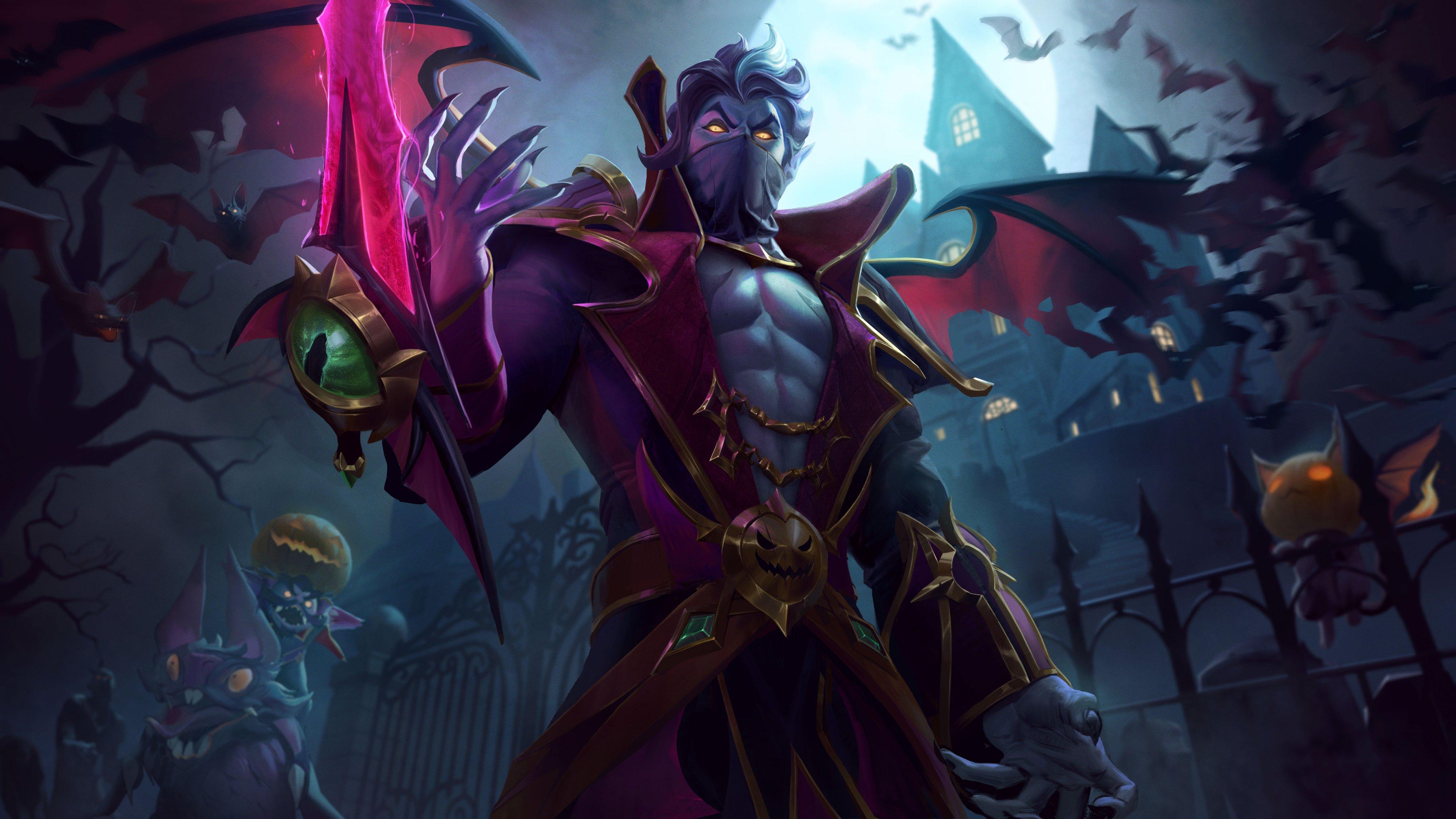 General 4096x2303 Kassadin League of Legends Riot Games Halloween vampire (anime) dark Jack O' Lantern
