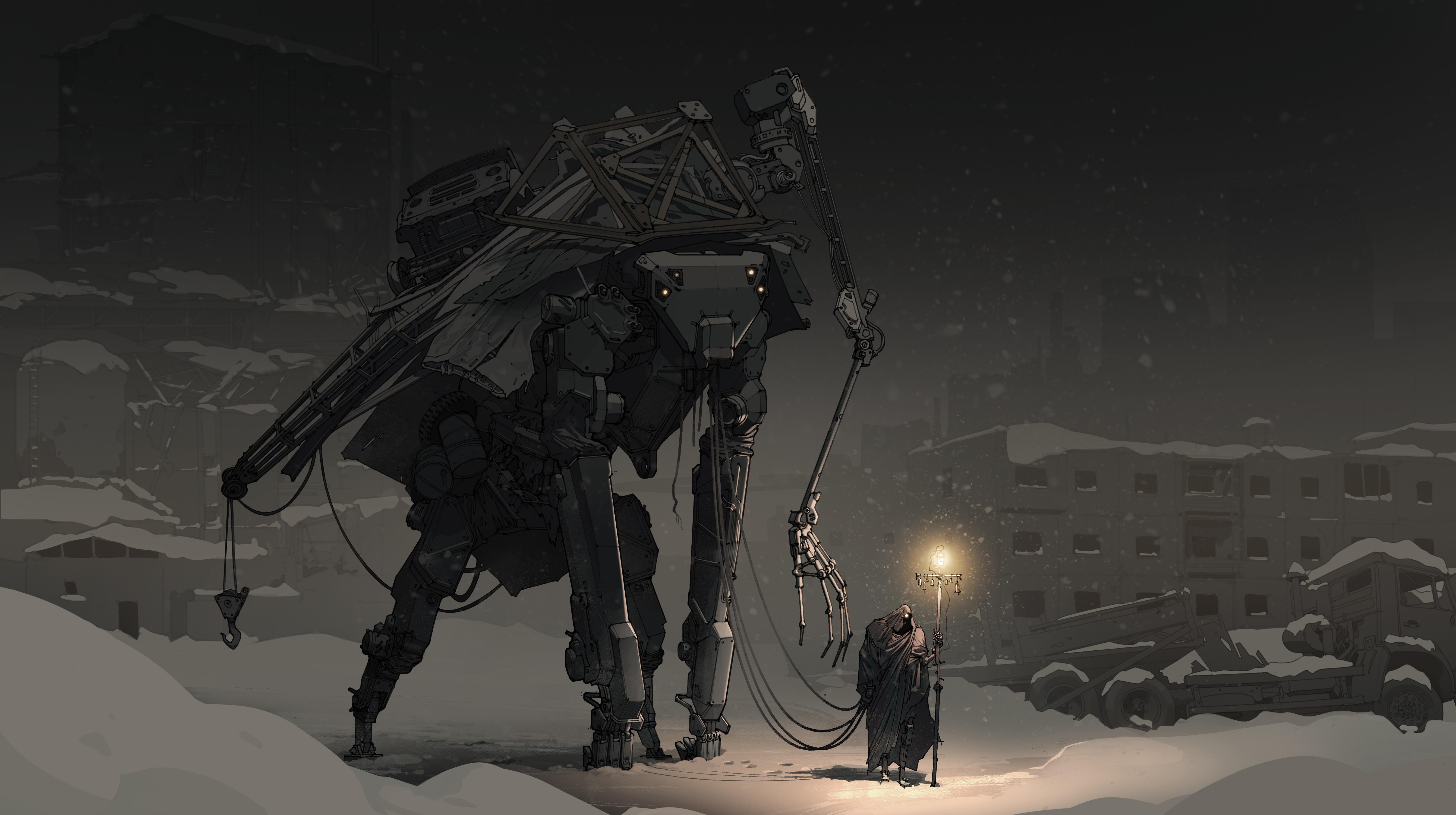 General 6286x3517 robot creepy night Russia city house mist faded dark snow winter traveller