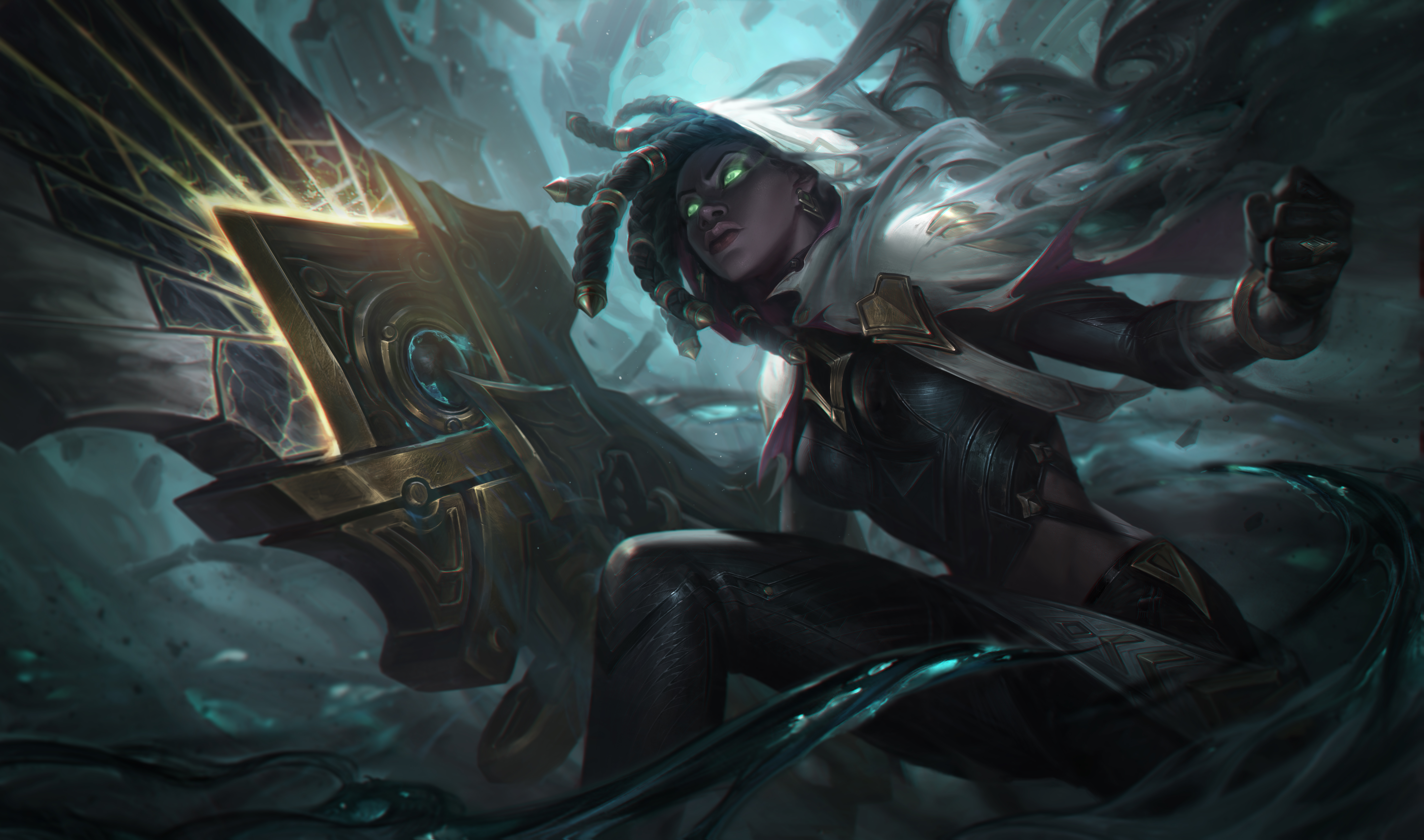 General 8000x4720 League of Legends Senna (League of Legends) Riot Games Support (League Of Legends) dreadlocks PC gaming fantasy girl video game girls