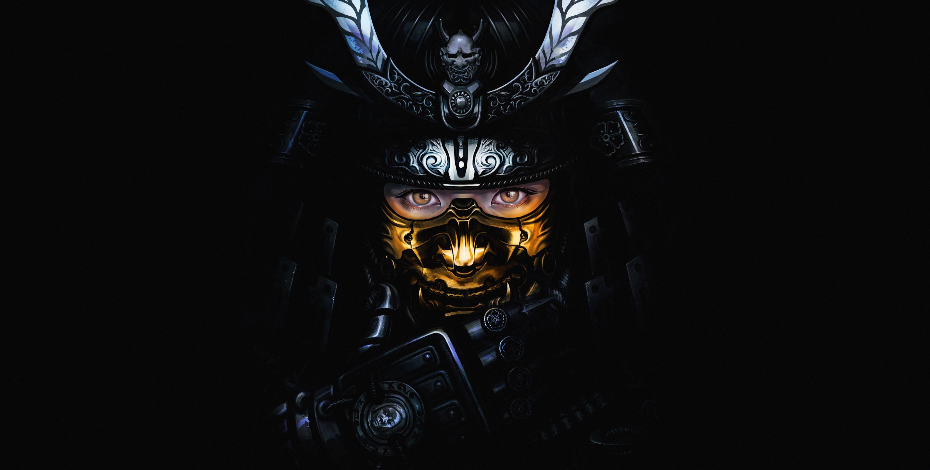 General 3200x1620 dark fantasy art face fantasy girl samurai frontal view oni mask