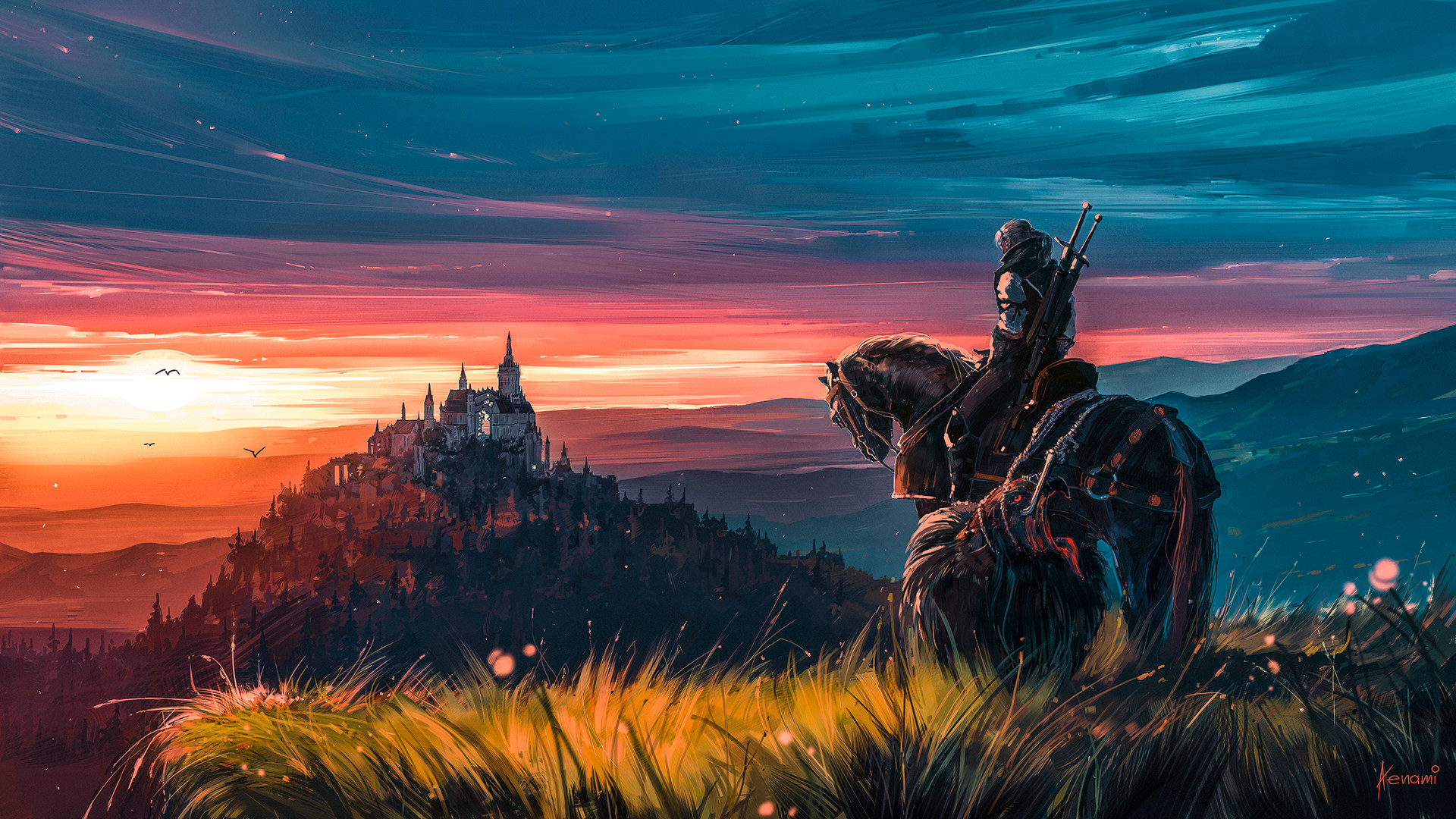 General 1920x1080 warrior horse painting sky Aenami video games The Witcher Geralt of Rivia The Witcher 3: Wild Hunt - Blood and Wine sword Kingdom castle evening grass