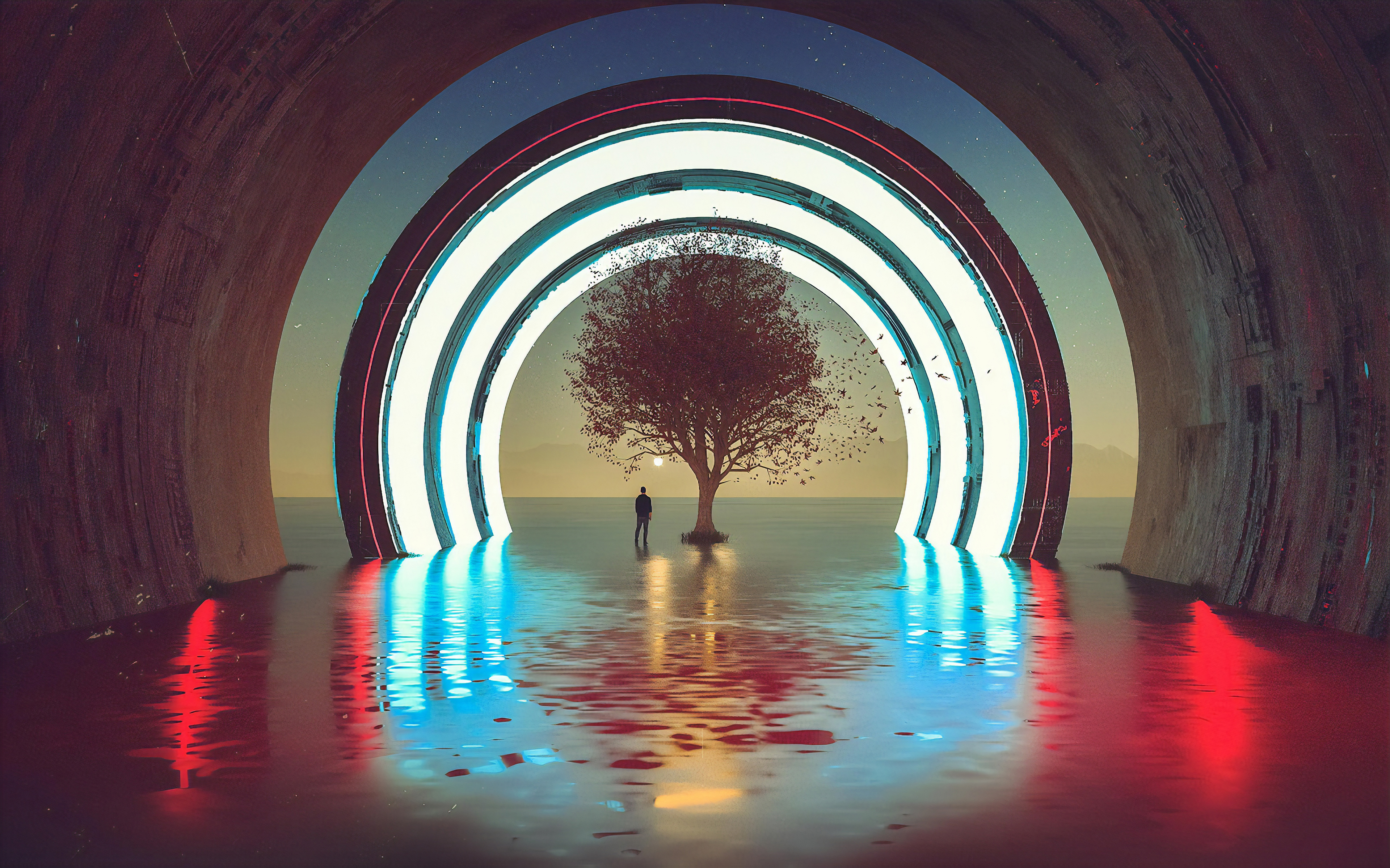 General 3840x2400 digital digital art artwork fantasy art landscape trees silhouette abstract water men outdoors men outdoors sea neon lights neon lights Sun sunset sun rays reflection tunnel science fiction surreal