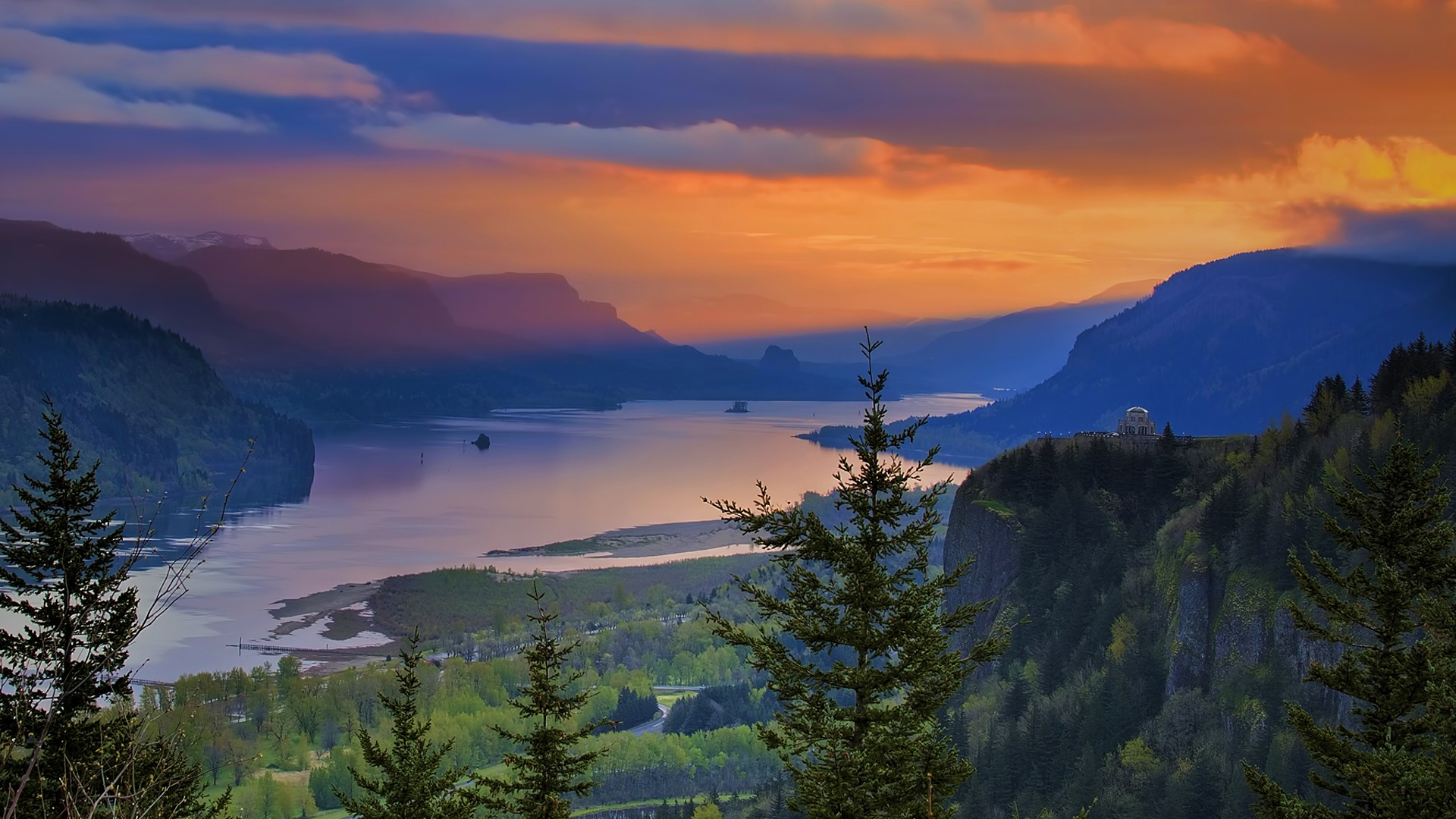 General 1920x1080 nature landscape mountains trees clouds river sky sunset Oregon USA gorge The Columbia River Gorge