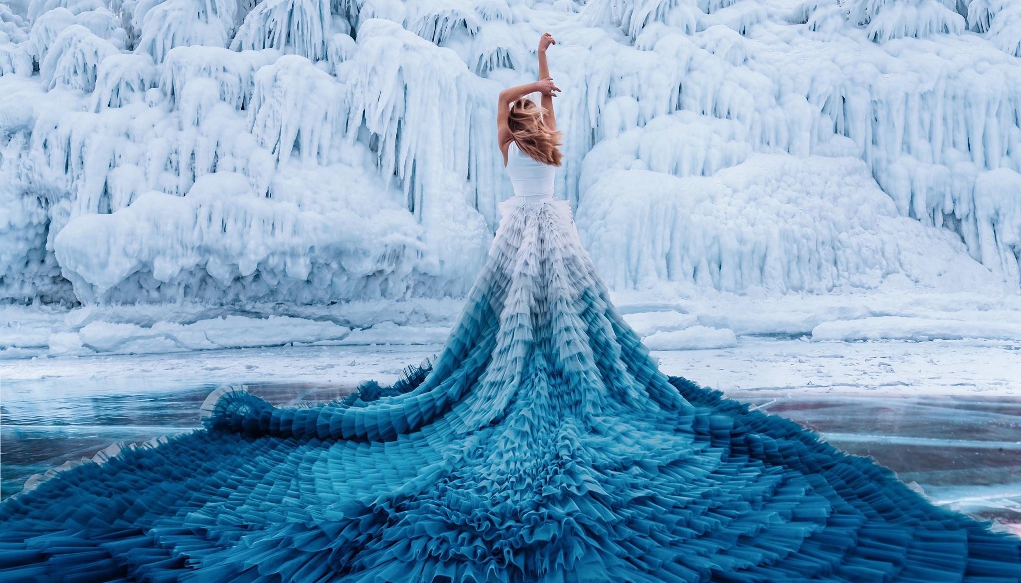 People 2048x1170 dress cold ice women model women outdoors arms up Kristina Makeeva Elizaveta Ovcharenko