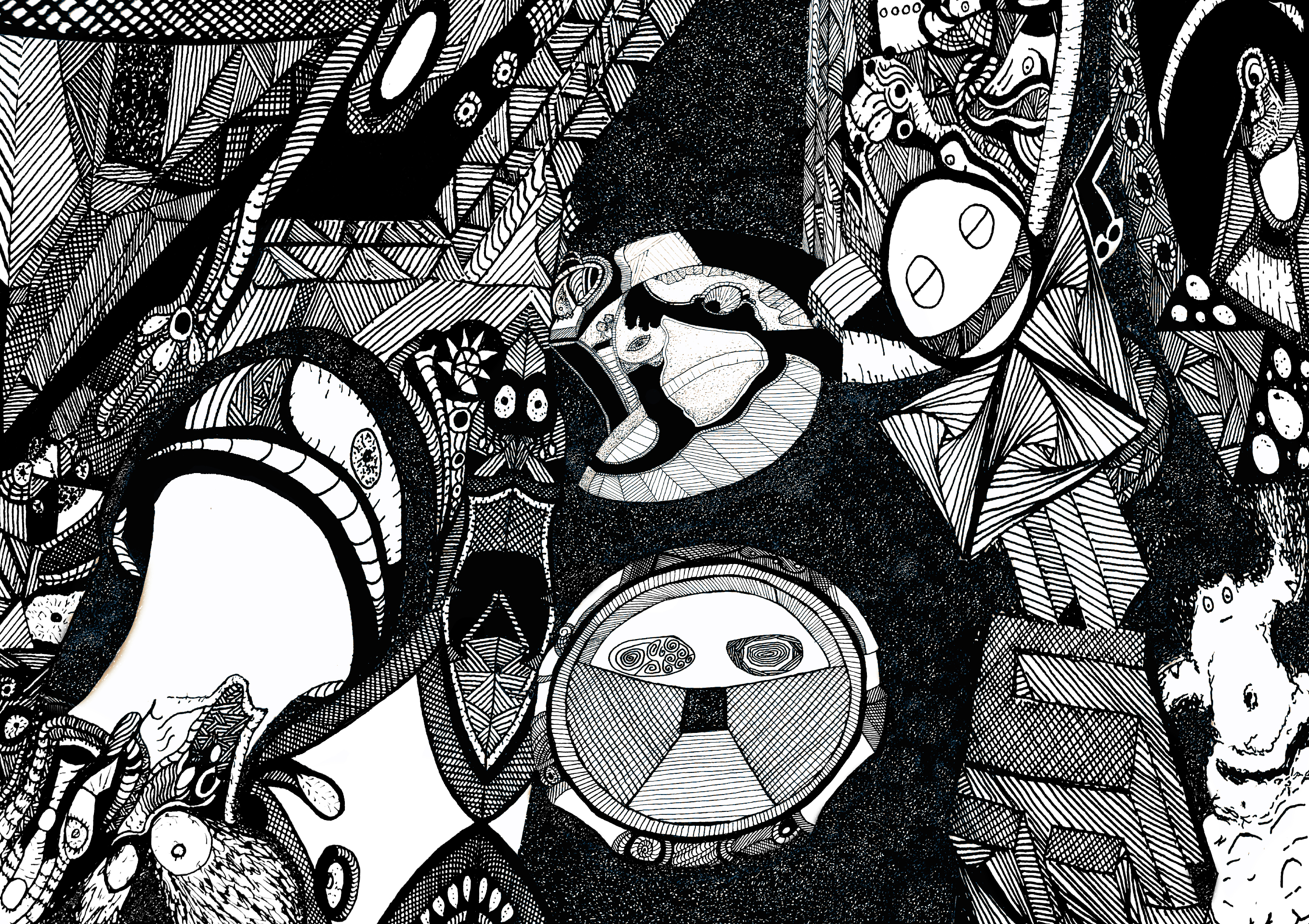 General 2718x1920 abstract drawing pen psychedelic lines line art trippy mushroom face stars space
