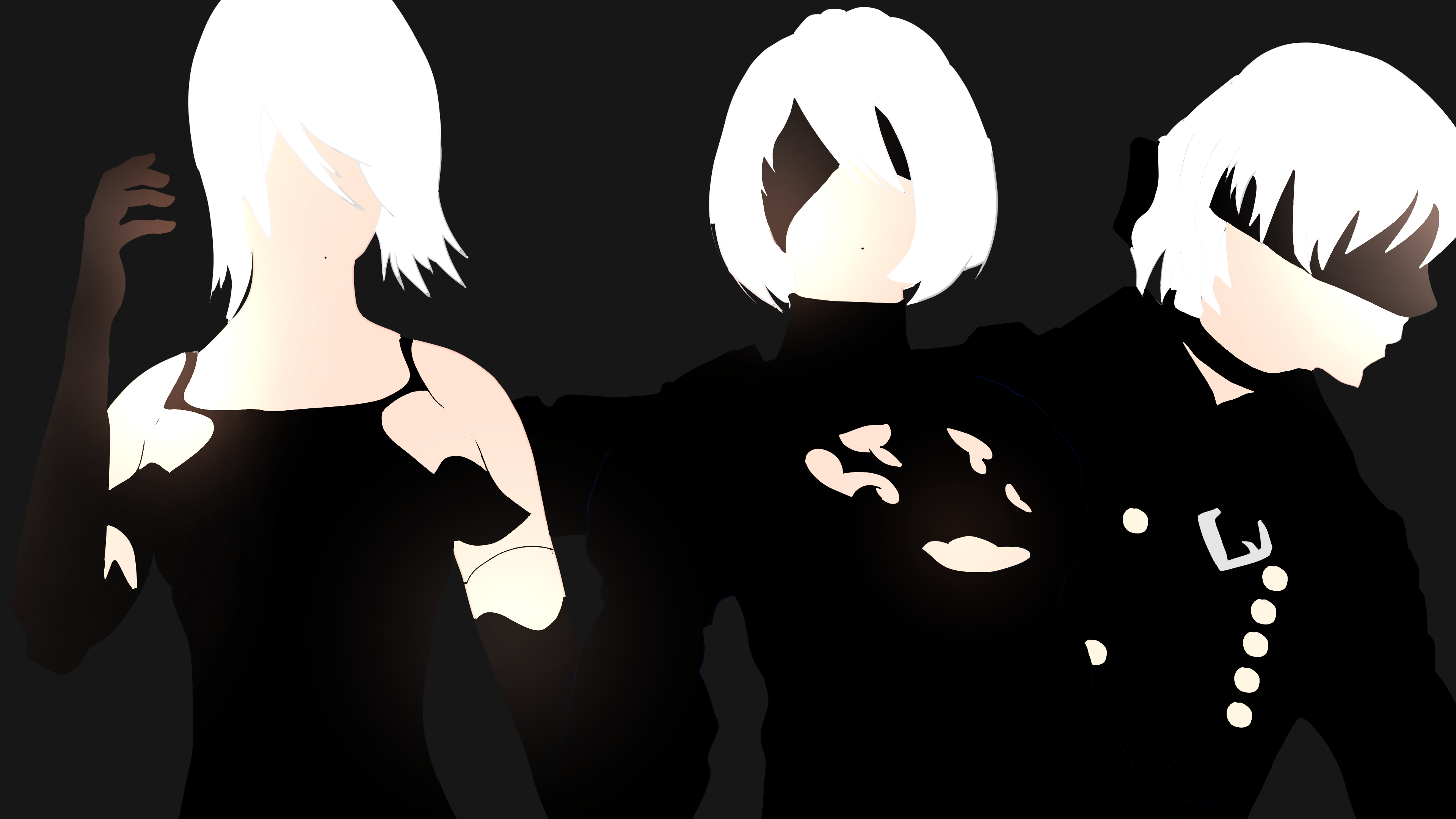 Anime 3840x2160 Nier: Automata 2B (Nier: Automata) 9S (Nier: Automata) A2 (Nier: Automata) minimalism video games