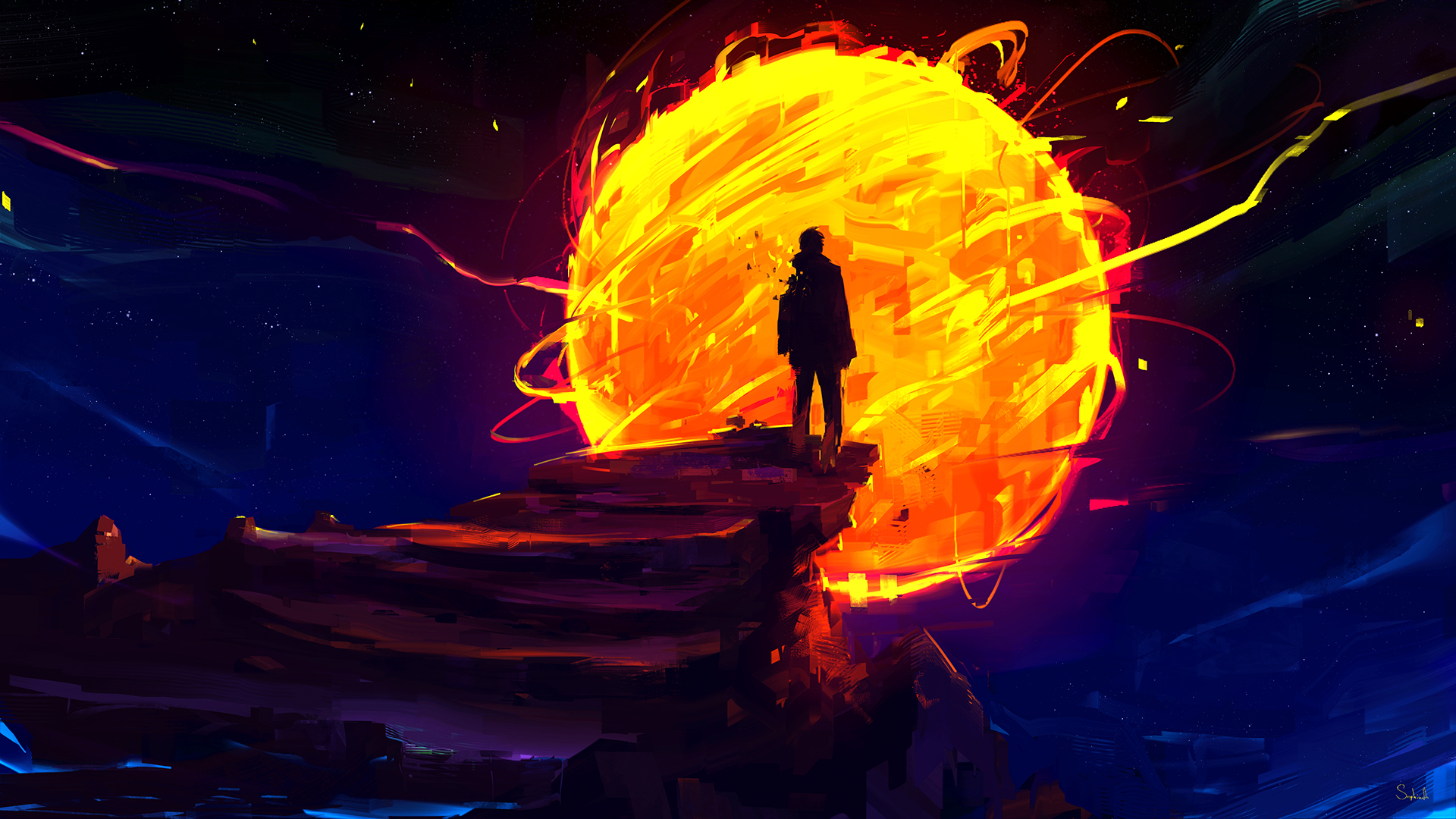 General 1920x1080 digital digital art artwork drawing painting digital painting fantasy art silhouette men Sun landscape burning sphere fire Sephiroth Art