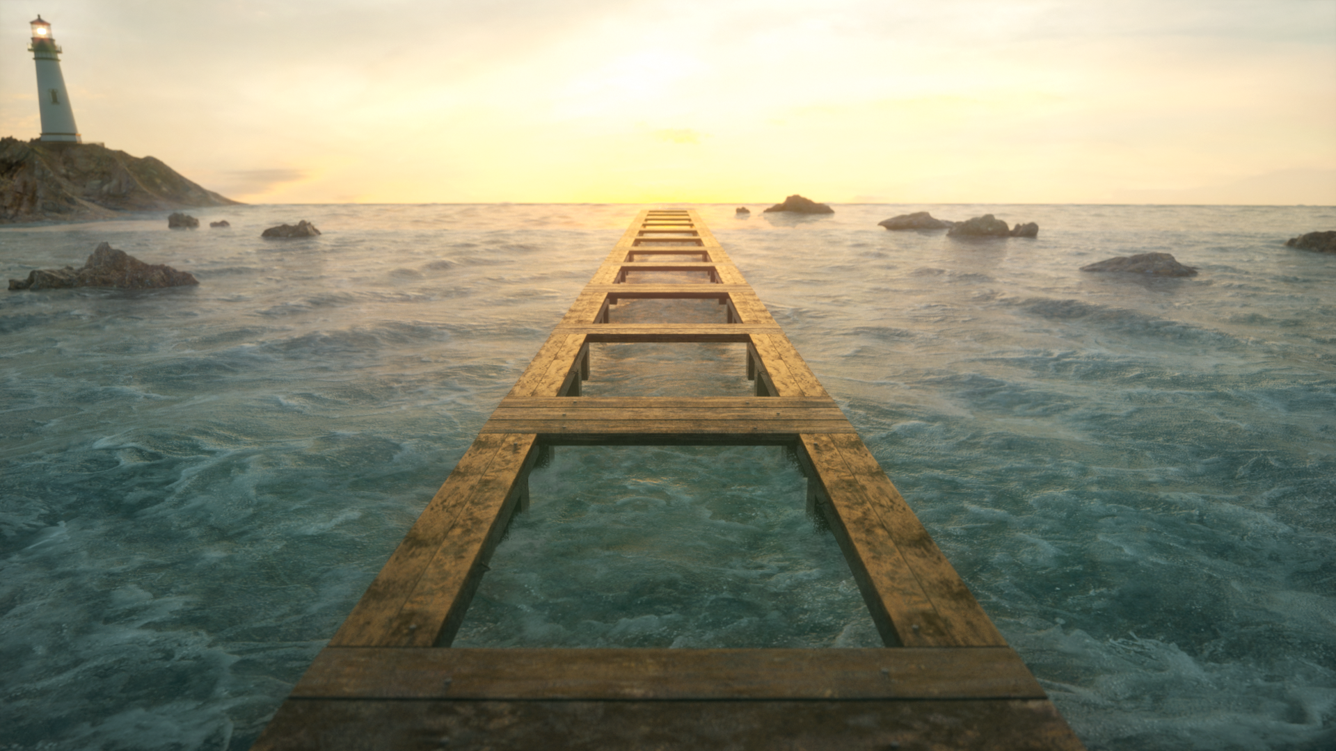 General 1920x1080 sea sea foam landscape planks water path pathway sunlight shining lighthouse rocks grunge 3D graphics CGI rendering flares soft gradient