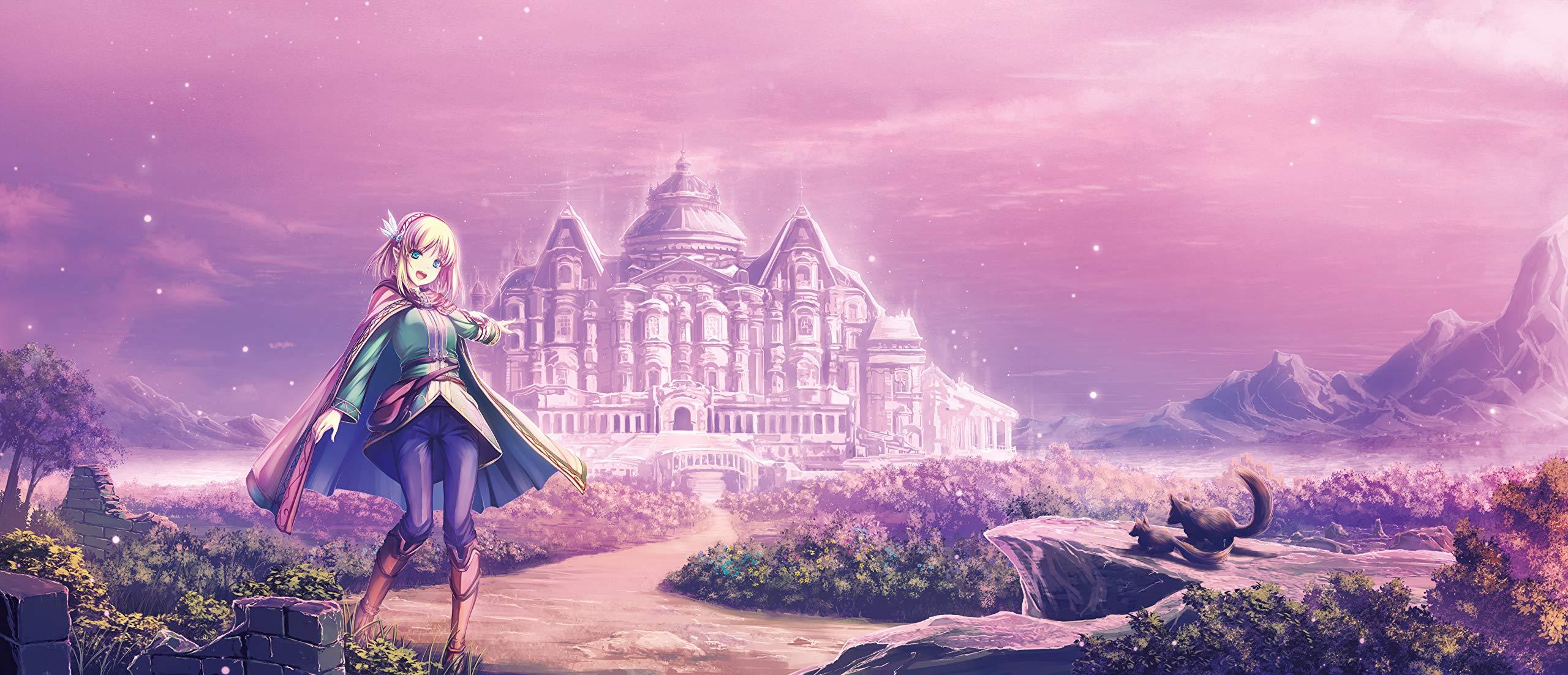 Anime 2560x1103 Leadale no Daichi nite Light Novel castle blossoms animals open mouth landscape anime