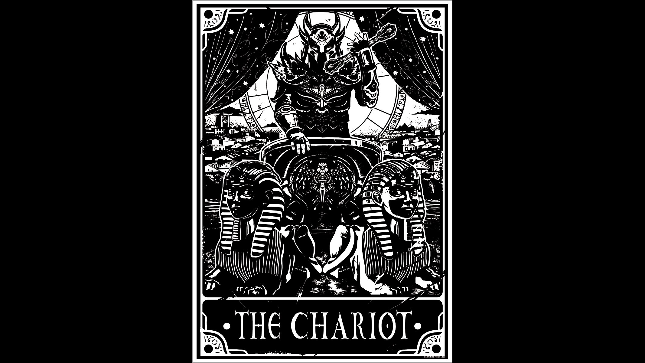General 2133x1200 monochrome simple background occultism tarot Chariot sphinx helmet text city