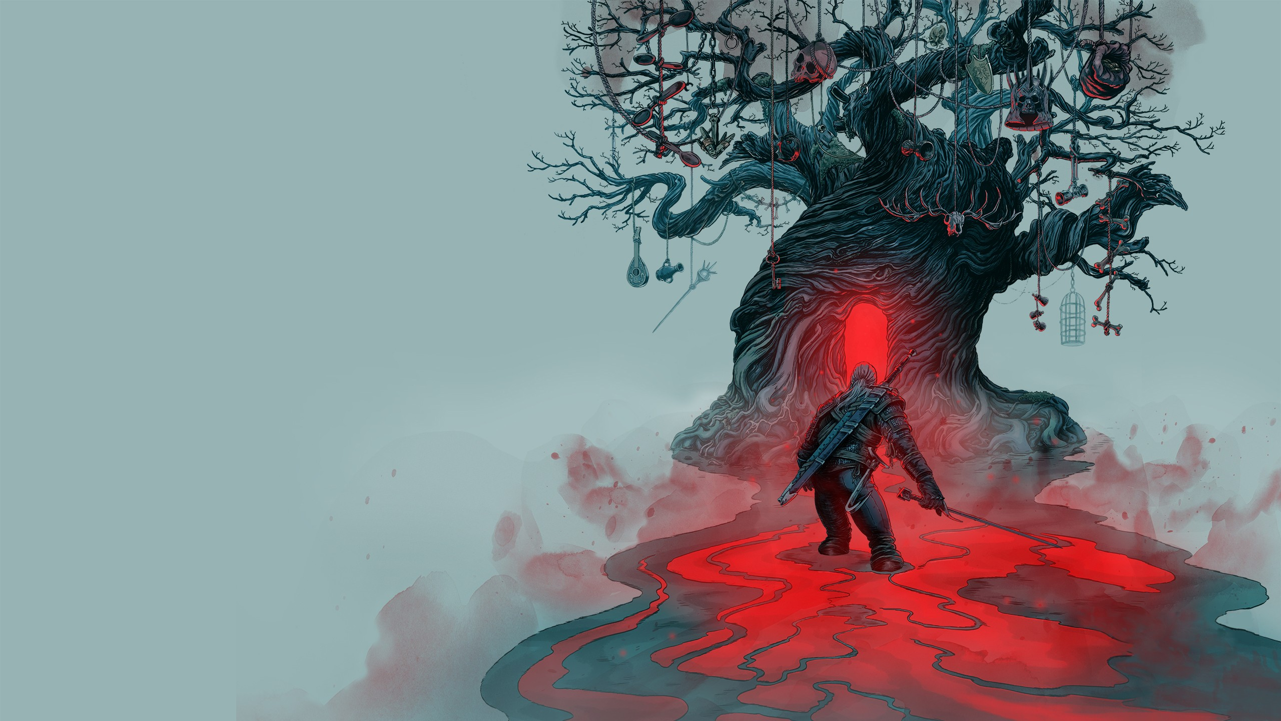 General 2560x1440 digital art nature landscape video games The Witcher 3: Wild Hunt trees skull ropes sword warrior Geralt of Rivia The Witcher spoons keys bones red
