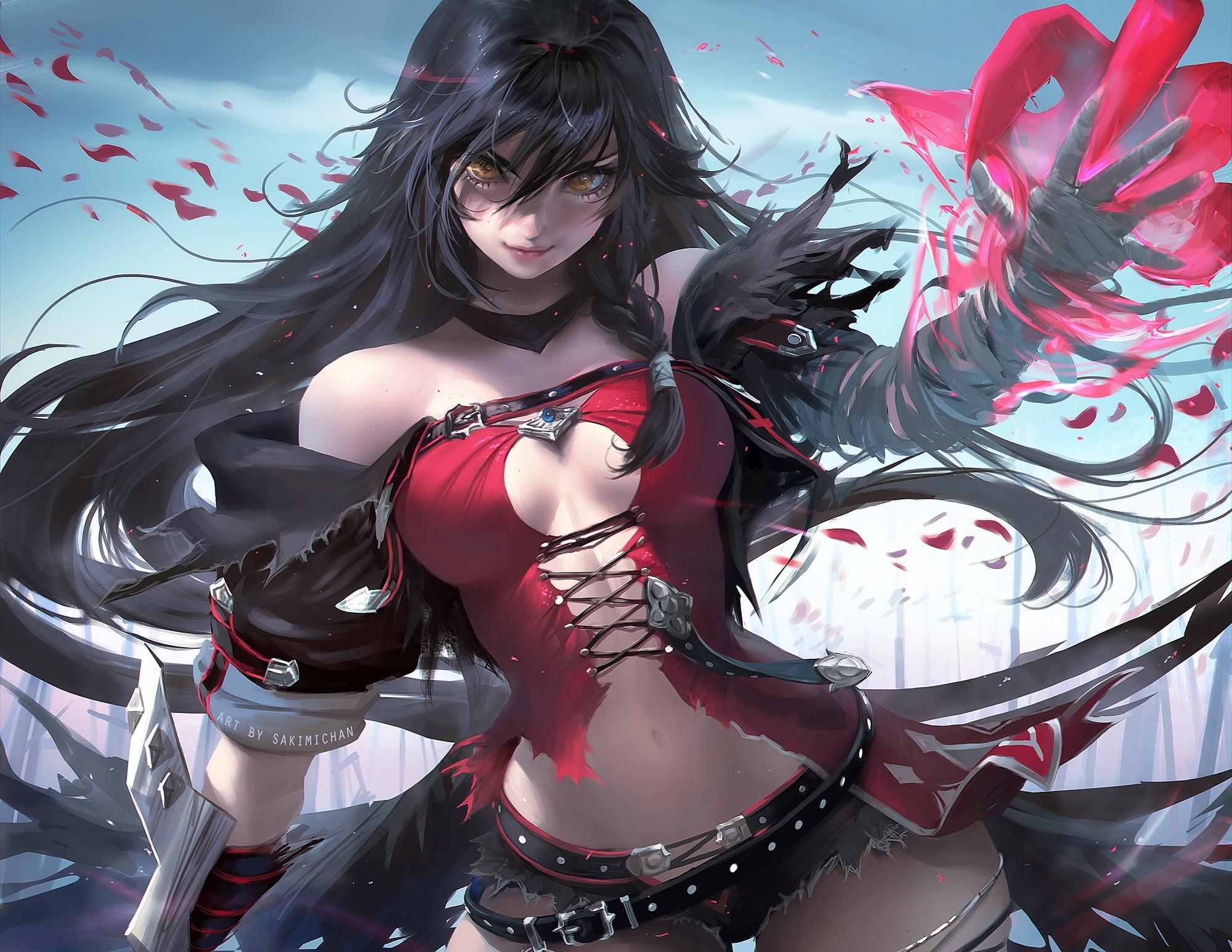 Anime 2000x1546 Tales of Berseria Velvet Crowe long hair black hair torn clothes cleavage realistic Sakimichan Tales of Series gray lingerie