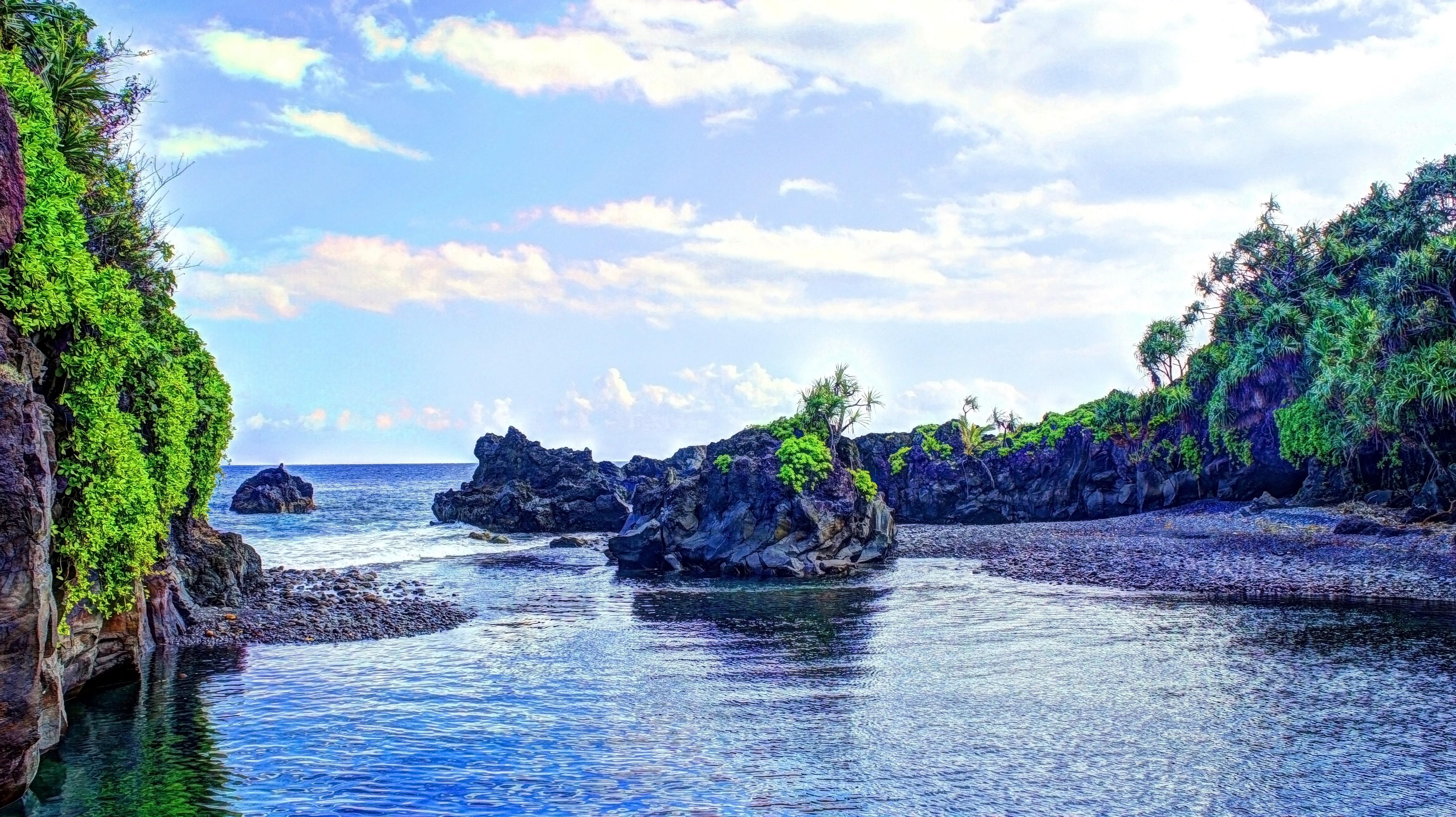 General 4591x2575 tropical water tropical forest Hawaii isle of Maui Maui palm trees beach waterfall